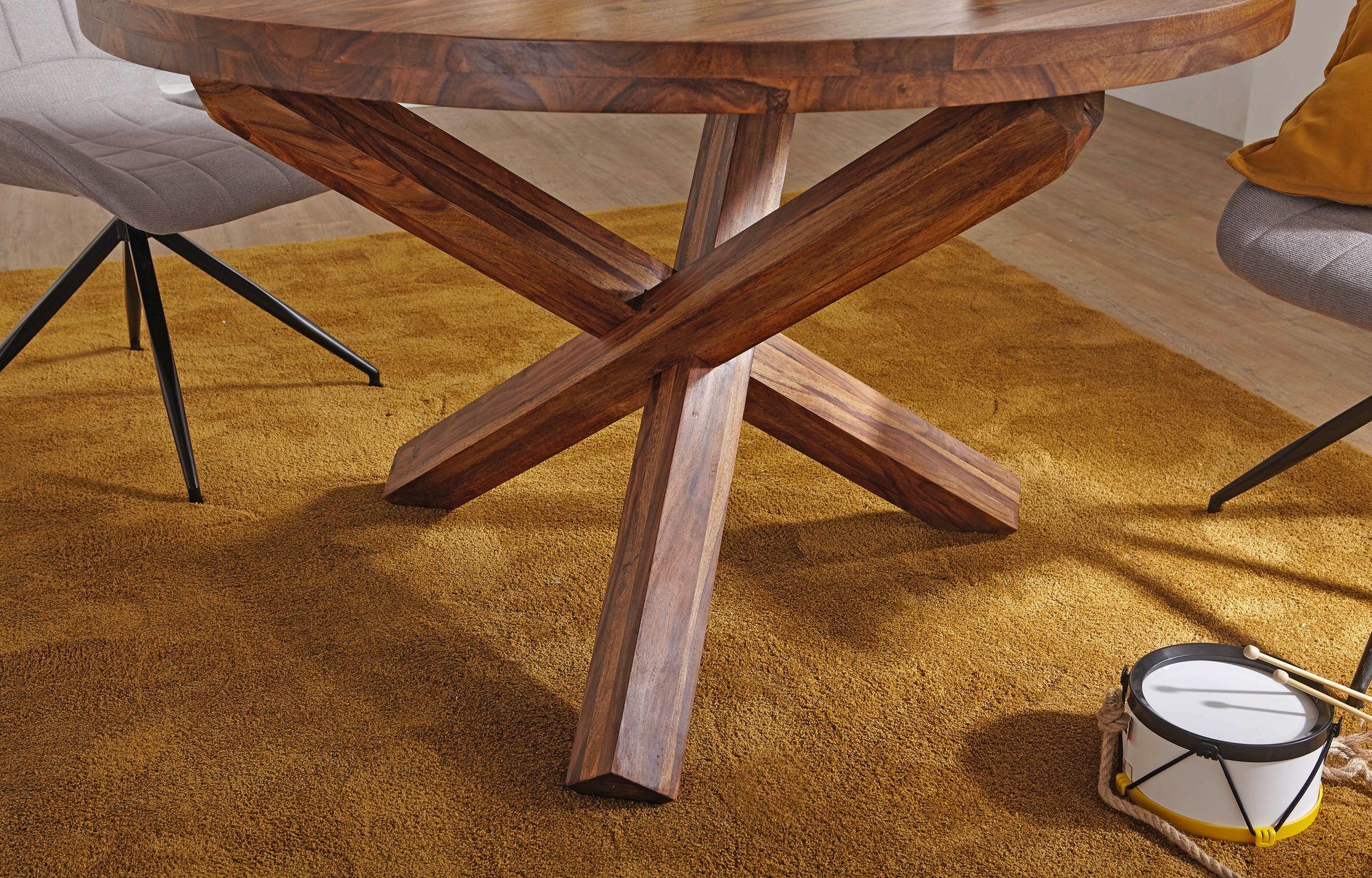 FineBuy Design Esszimmertisch rund Ø 120 cm x 75 cm Massiv Holz | Landhaus Esstisch 4 Personen | Küchentisch Tisch für Esszimmer braun