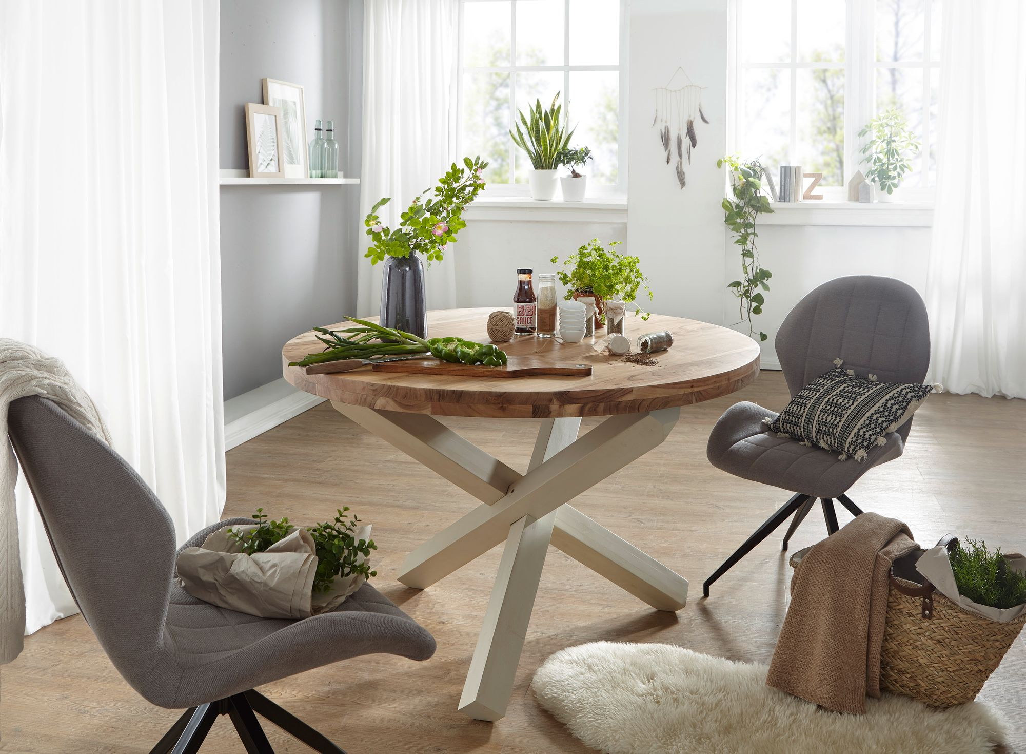 Finebuy Design Esszimmertisch Rund O 120 Cm X 75 Cm Massiv Holz Landhaus Esstisch 4