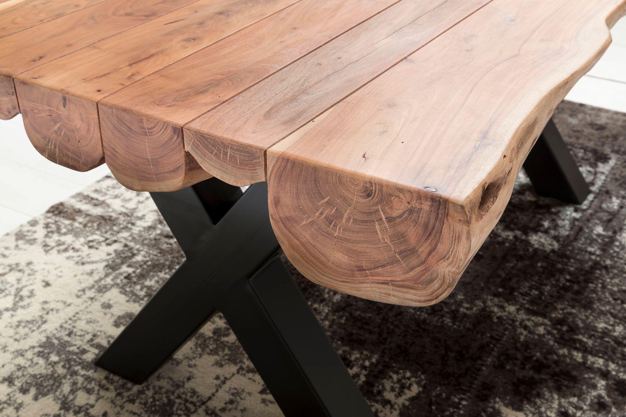 FineBuy Esszimmertisch Akazie Landhaus Stil Voll Holz | Design Esstisch rechteckig | Tisch für Esszimmer Baumstamm | Küchentisch 6 8 Personen