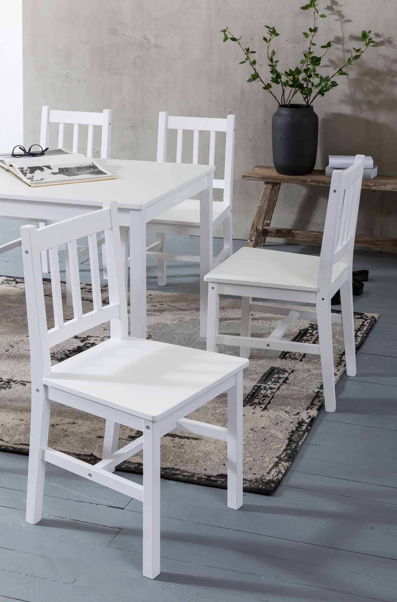 WOHNLING Esszimmer Set EMIL 3 Teilig Kiefer Holz Weiß Landhaus Stil 70 X