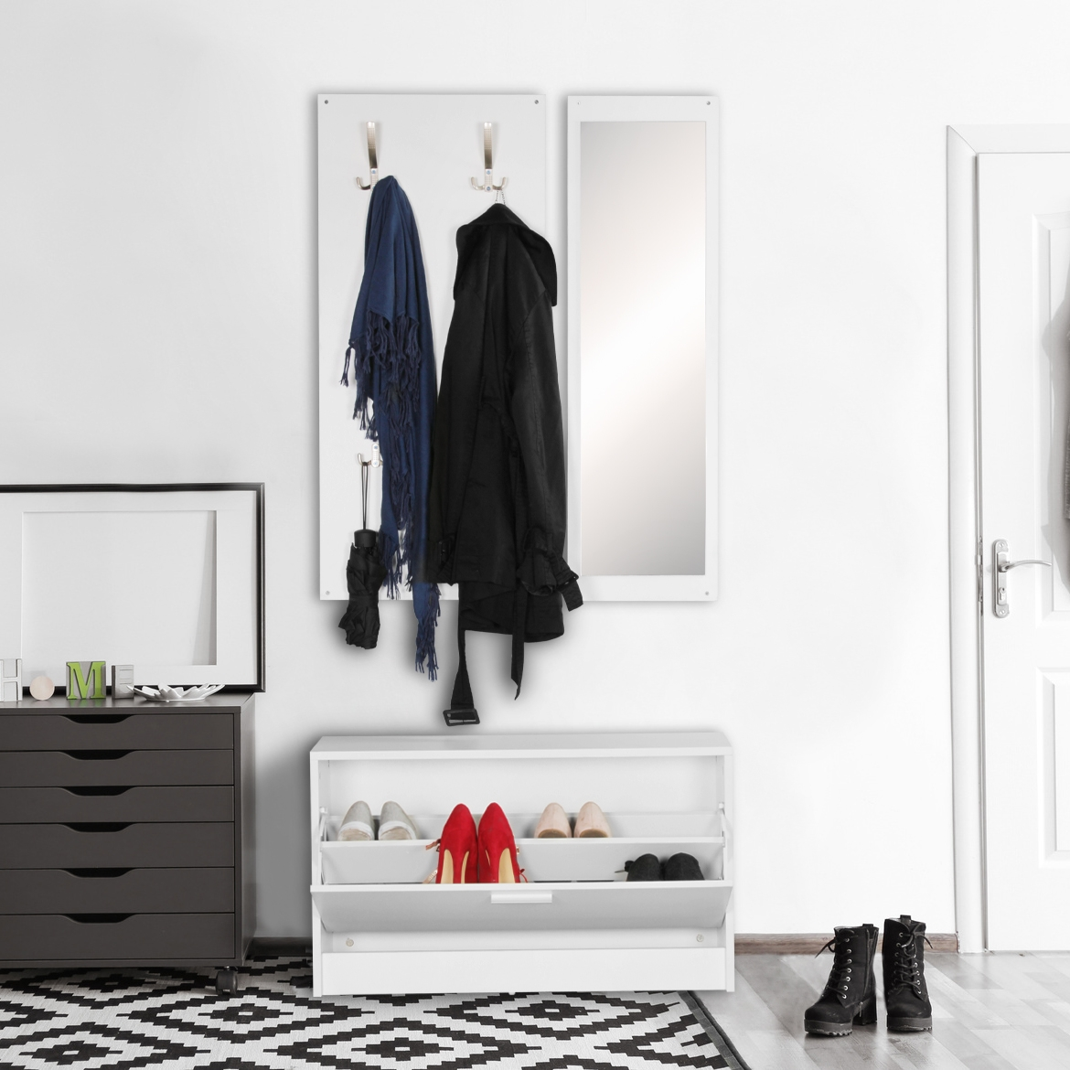 wand garderobe jan mit garderobenpaneel spiegel. Black Bedroom Furniture Sets. Home Design Ideas