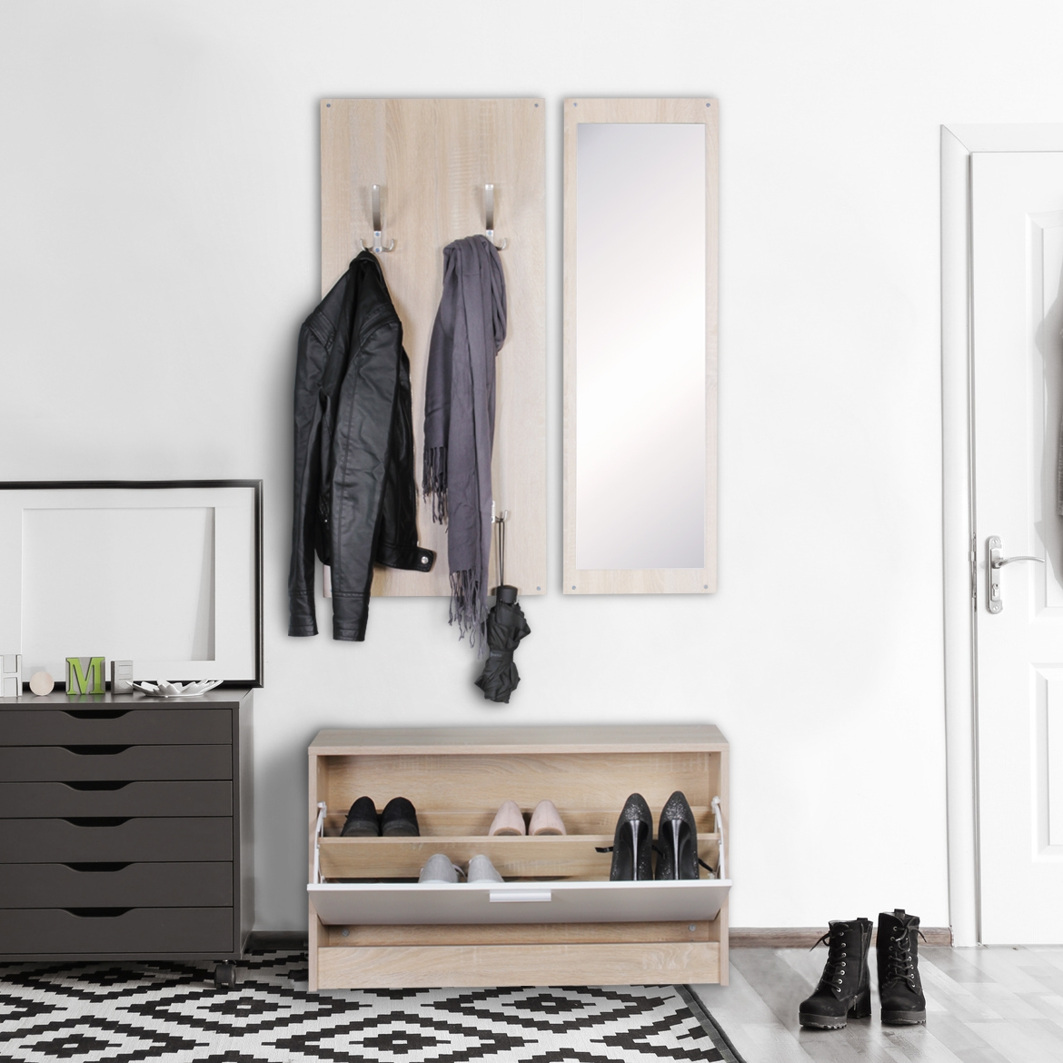wand garderobe jan mit garderobenpaneel spiegel schuhkipper 80 cm breit 27 cm schmal. Black Bedroom Furniture Sets. Home Design Ideas