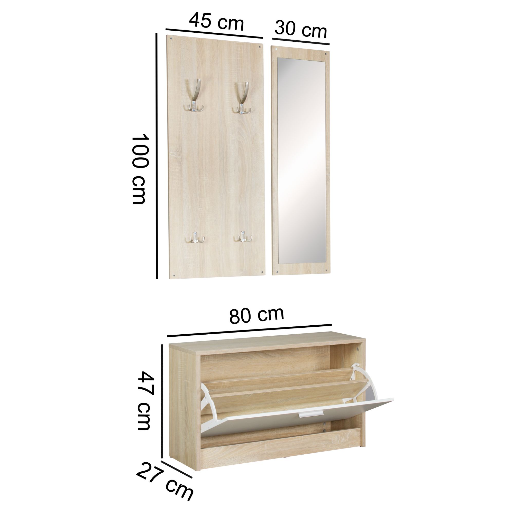 garderobe flurgarderobe paneel wandgarderobe spiegel komplett set kompakt sonoma ebay. Black Bedroom Furniture Sets. Home Design Ideas