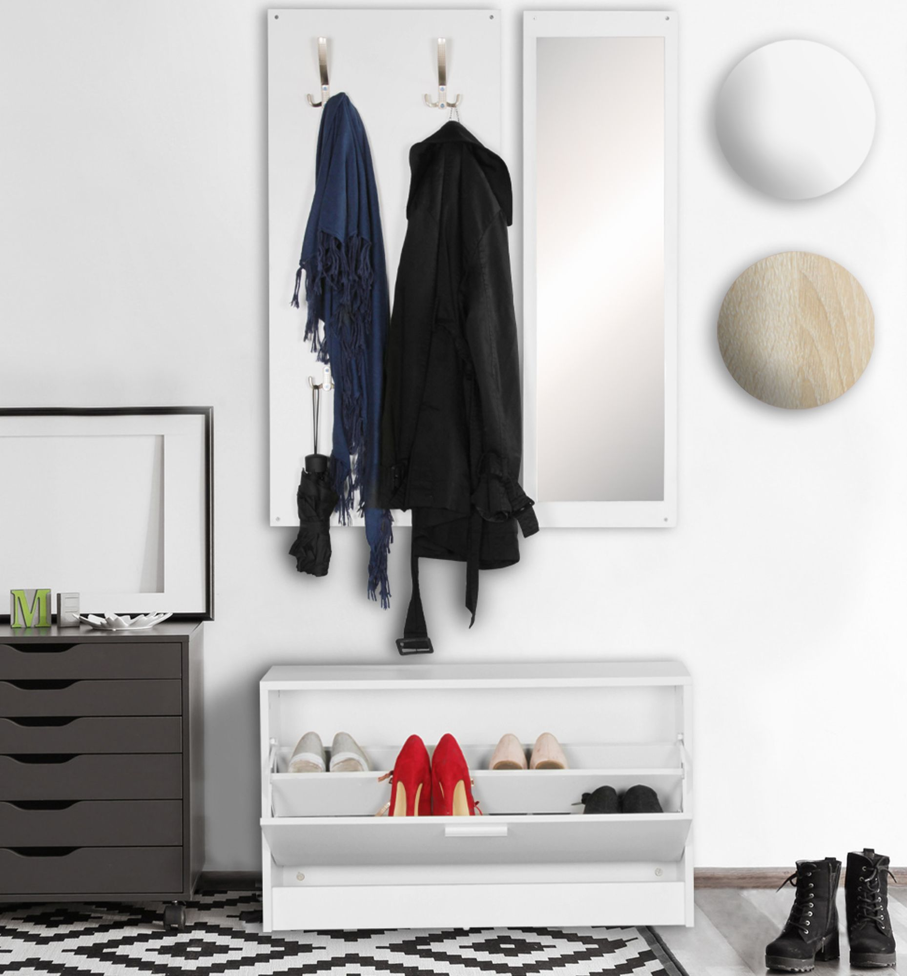 Garderobe Flurgarderobe Paneel Wandgarderobe Spiegel Komplett Set Kompakt Flur