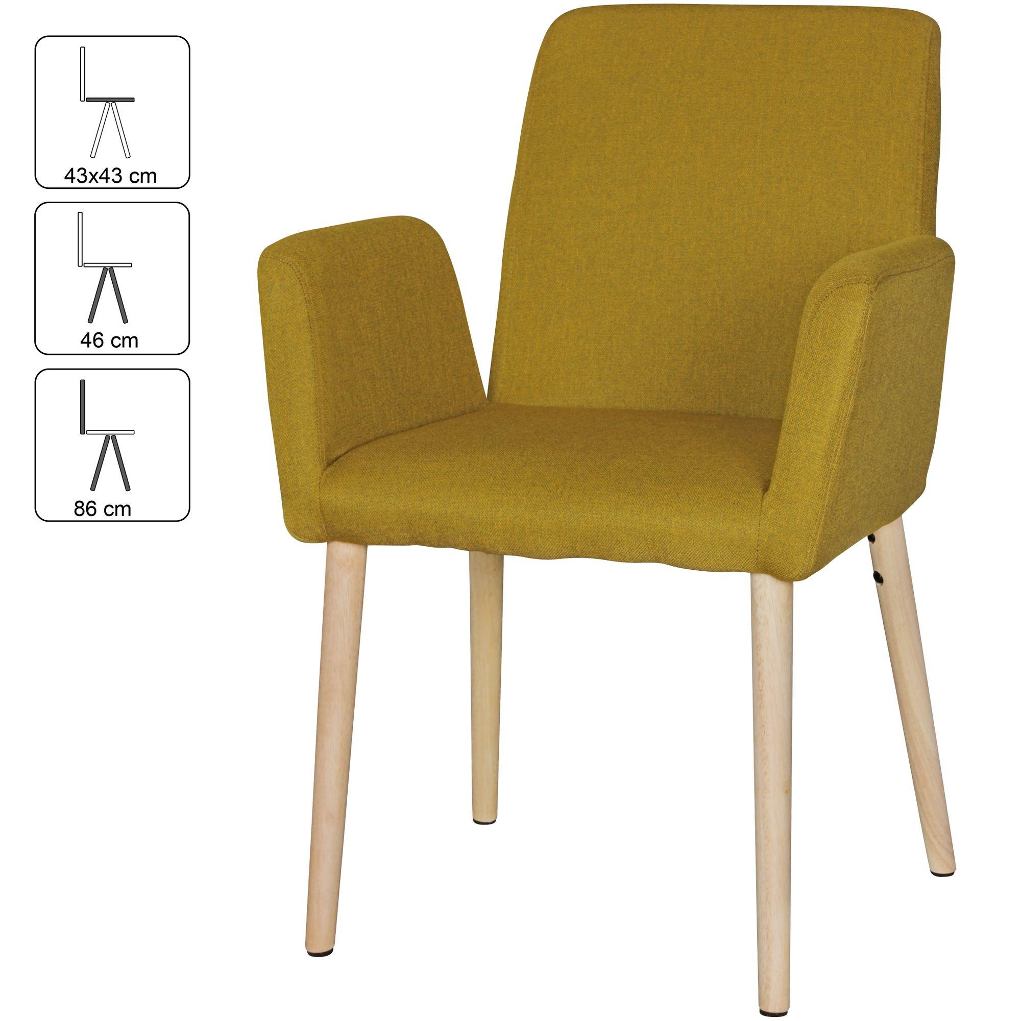 2er Set Retro Esszimmerstühle BEST Stoff Küchenstuhl Armlehnen Stuhl Holz  Beine