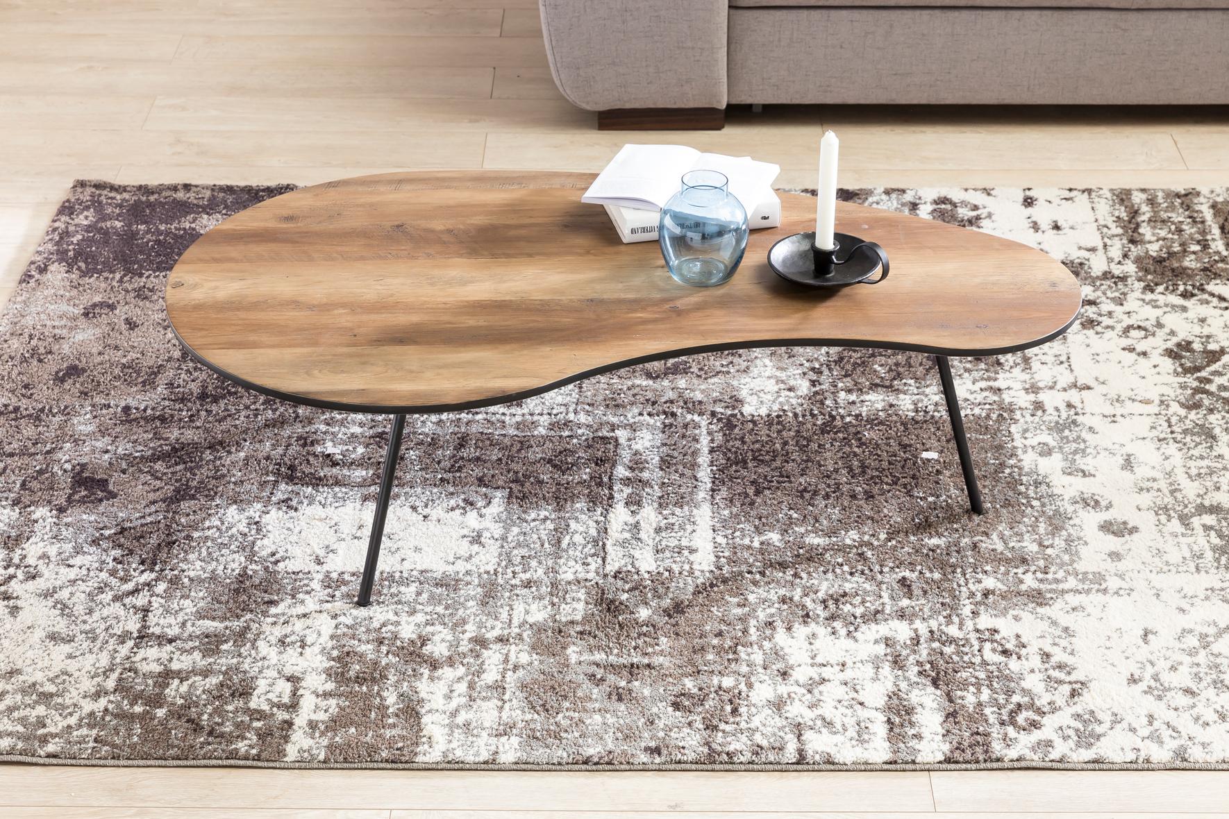 couchtisch mdf holz wohnzimmertisch metall kaffeetisch loungetisch nierentisch ebay. Black Bedroom Furniture Sets. Home Design Ideas