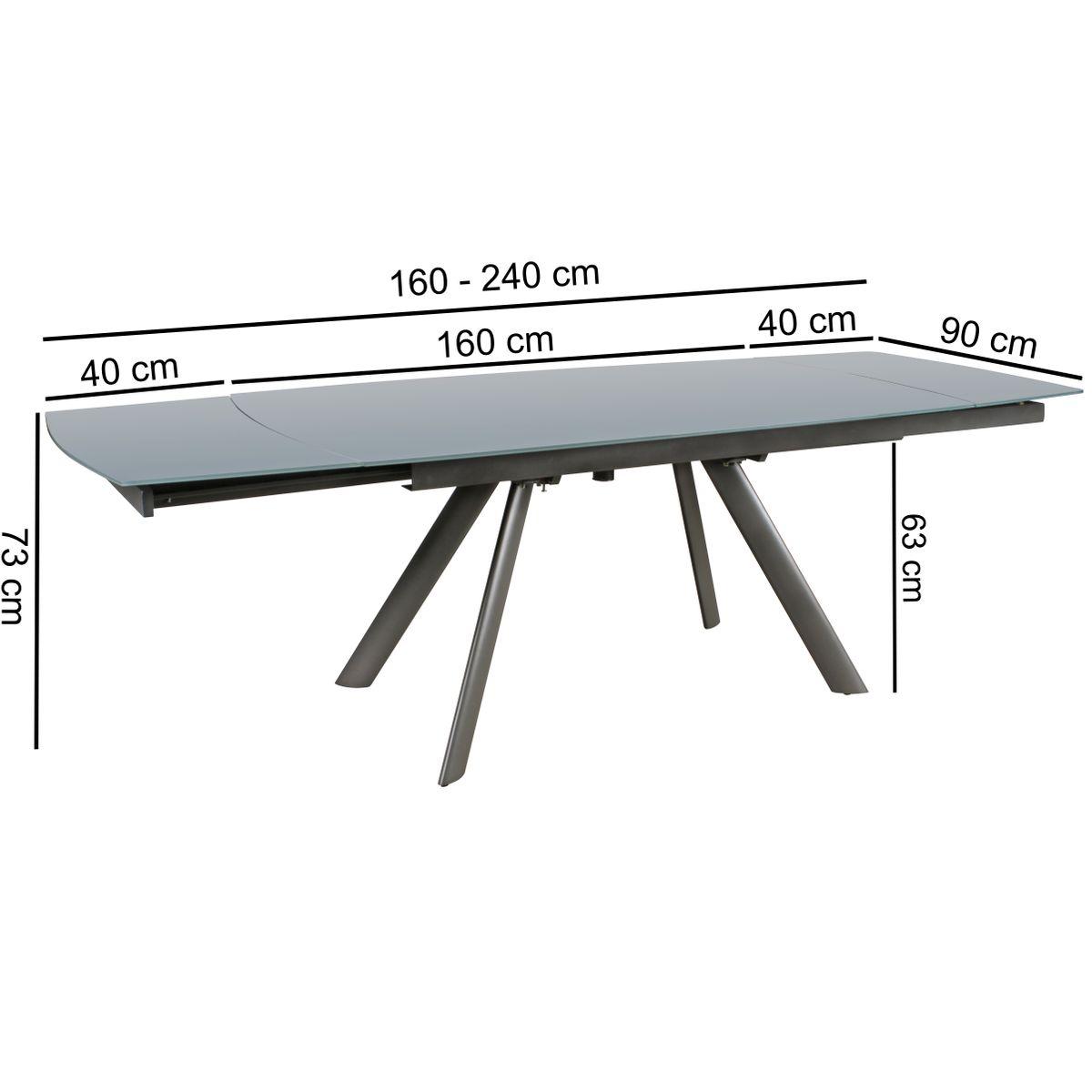 esstisch 160 240 cm ausziehbar k chentisch metall esszimmertisch glas tisch ebay. Black Bedroom Furniture Sets. Home Design Ideas