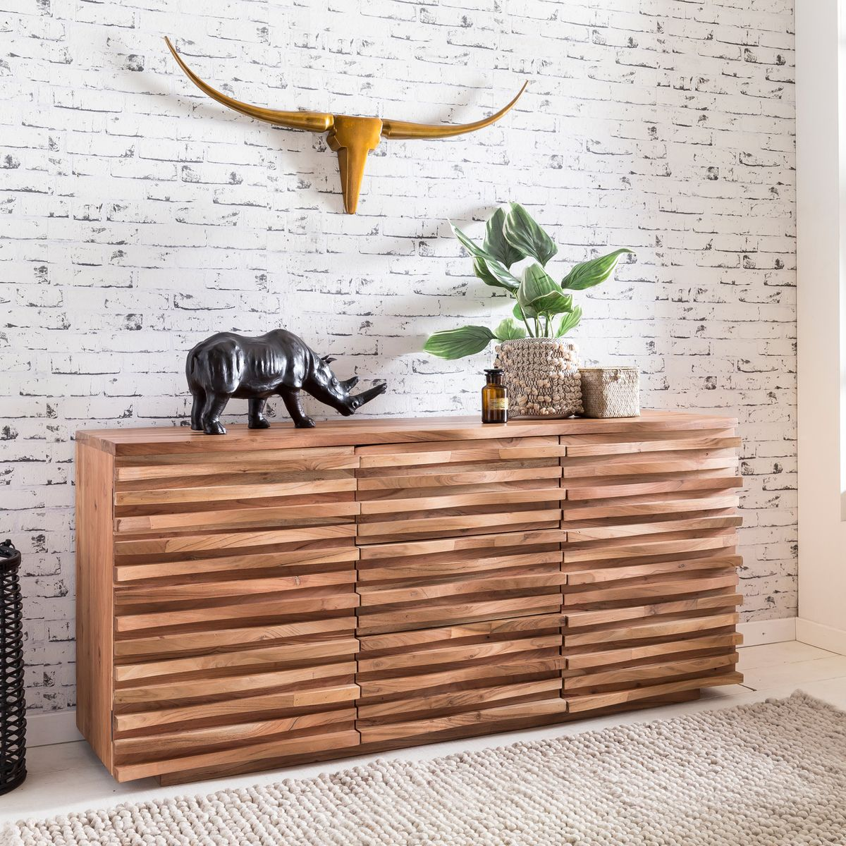 finebuy sideboard 160 x 75 x 43 cm massiv holz akazie. Black Bedroom Furniture Sets. Home Design Ideas