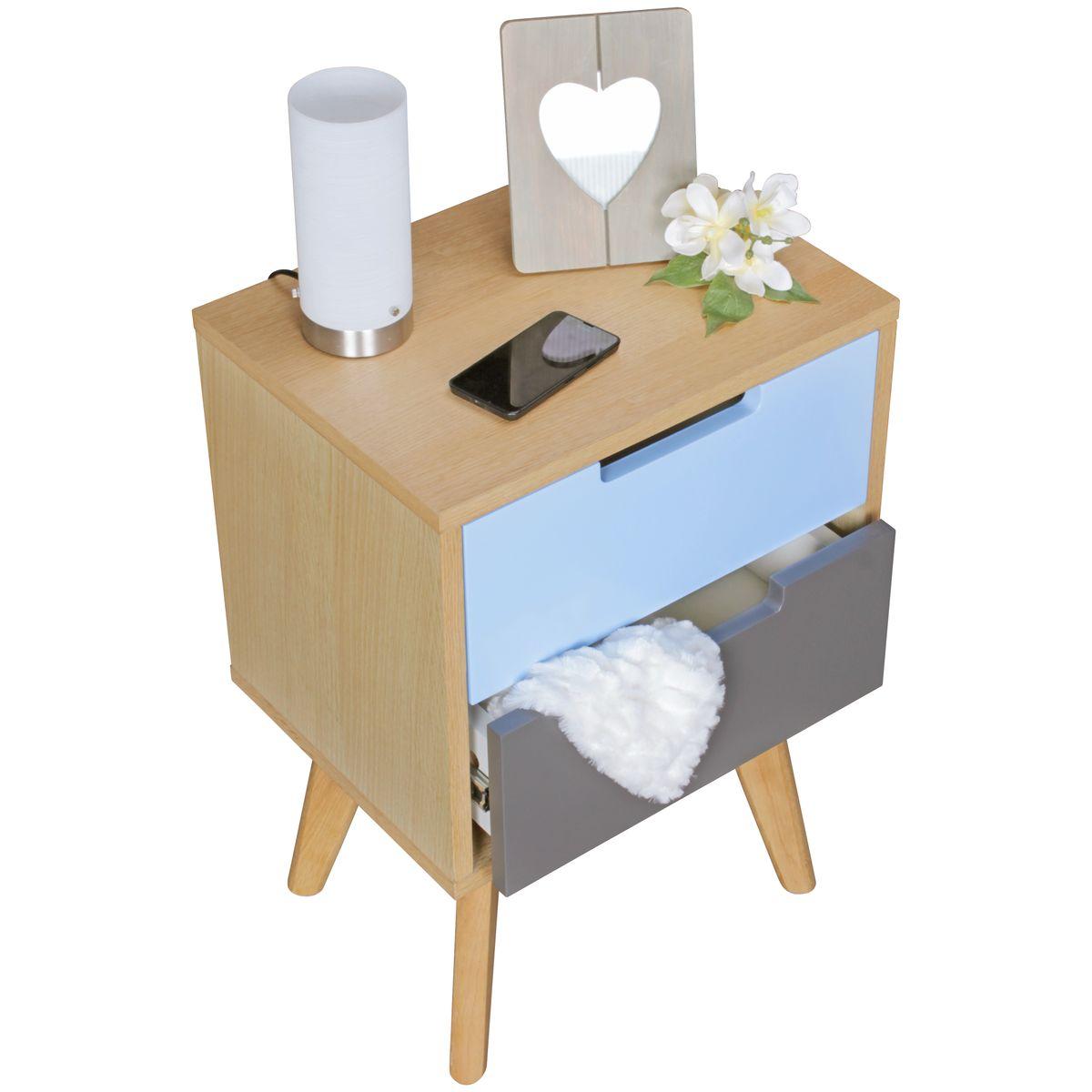 finebuy retro nachtkonsole scanio holz nachttisch. Black Bedroom Furniture Sets. Home Design Ideas
