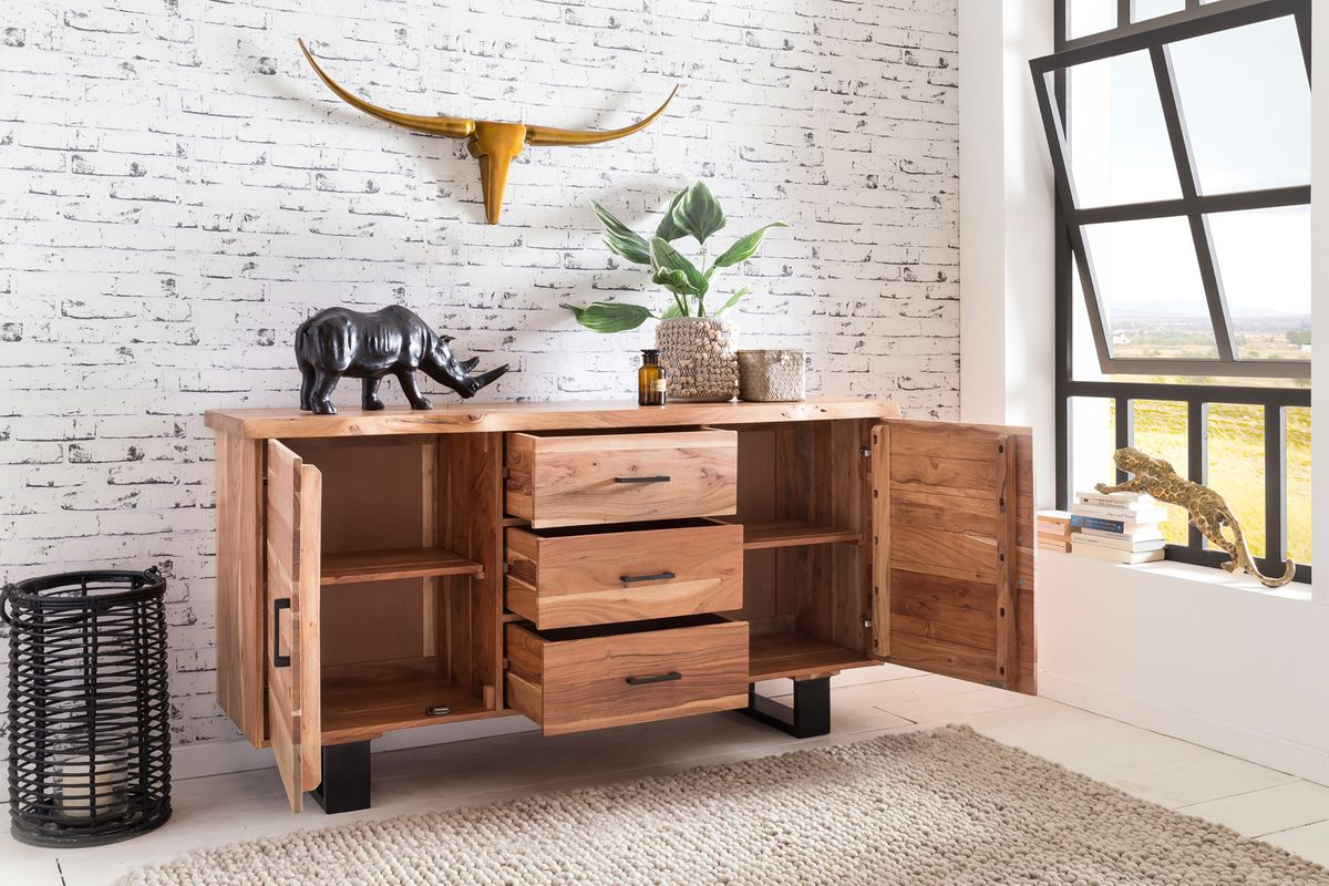 sideboard akazie 160 cm massivholz kommode schrank anrichte landhaus baumkante ebay. Black Bedroom Furniture Sets. Home Design Ideas