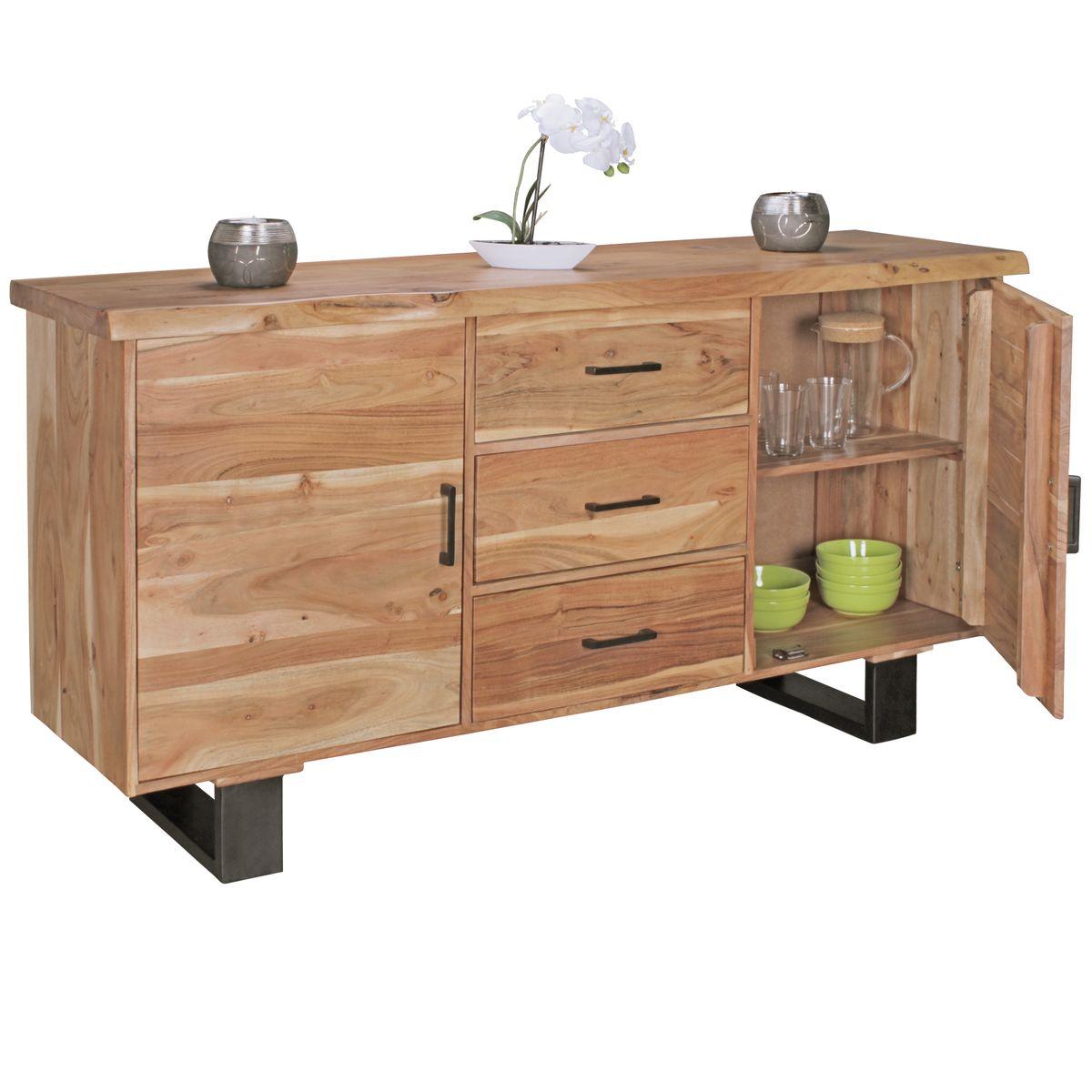 sideboard akazie 160 cm massivholz kommode schrank anrichte landhaus baumkante ebay. Black Bedroom Furniture Sets. Home Design Ideas