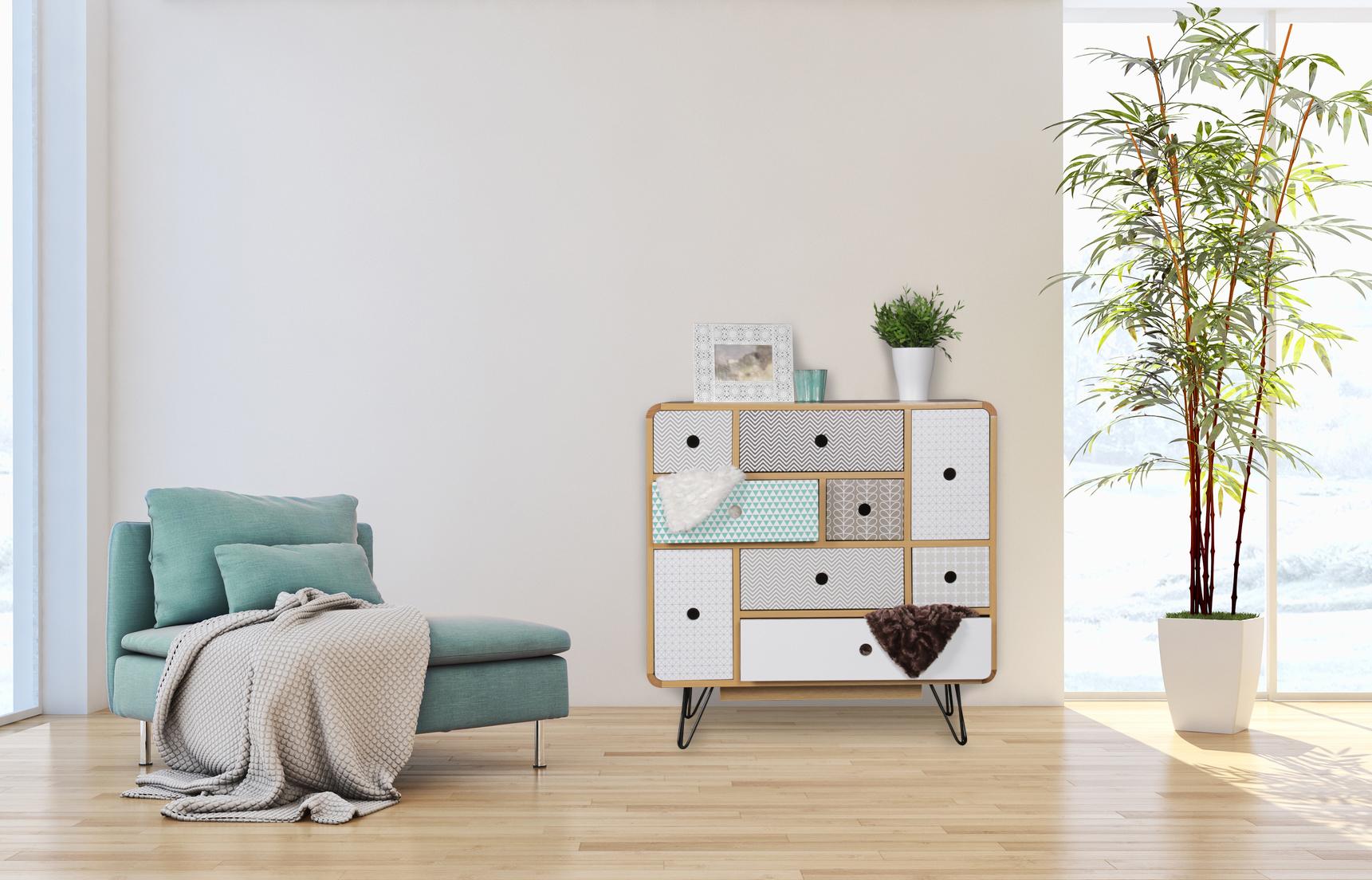 Sideboard 9 Schubladen Retro Design Kommode Holz Anrichte Muster 80