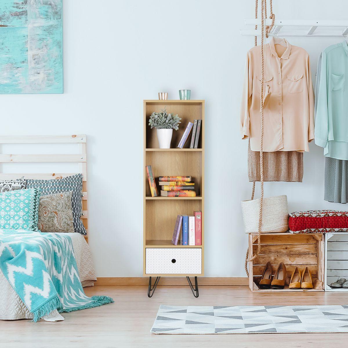 finebuy b cherregal kuusamo mit schublade retro design. Black Bedroom Furniture Sets. Home Design Ideas