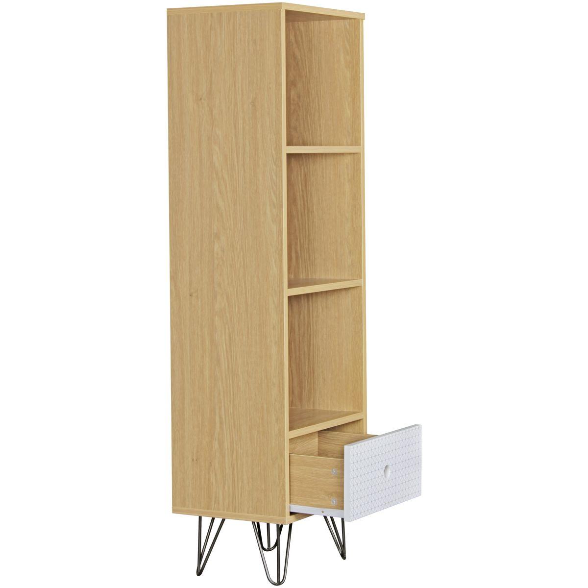 finebuy b cherregal kuusamo mit schublade retro design holz 40 x 130 x 30 cm standregal f r. Black Bedroom Furniture Sets. Home Design Ideas