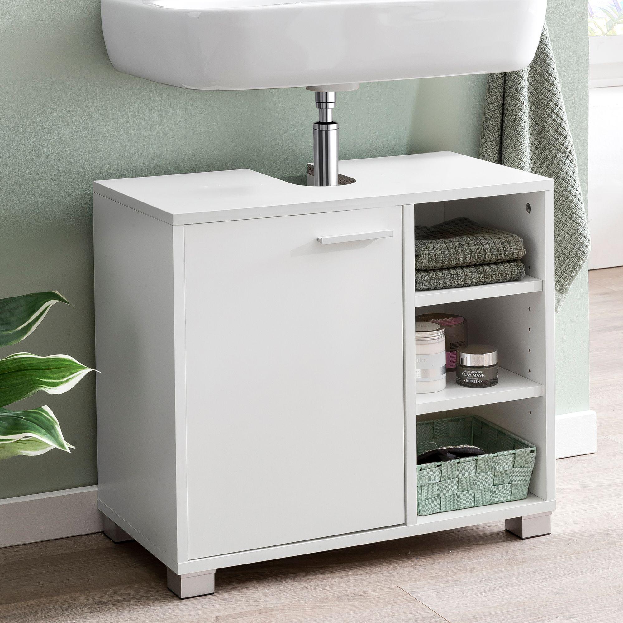 WOHNLING Waschbeckenunterschrank WL20.20 20x2020x20cm Weiss Badschrank mit  Tür   Holz Unterschrank Waschbecken Badezimmer   Waschtischunterschrank mit  ...