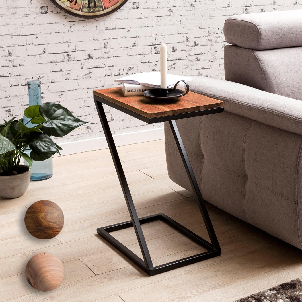 beistelltisch z form massivholz metall wohnzimmertisch. Black Bedroom Furniture Sets. Home Design Ideas