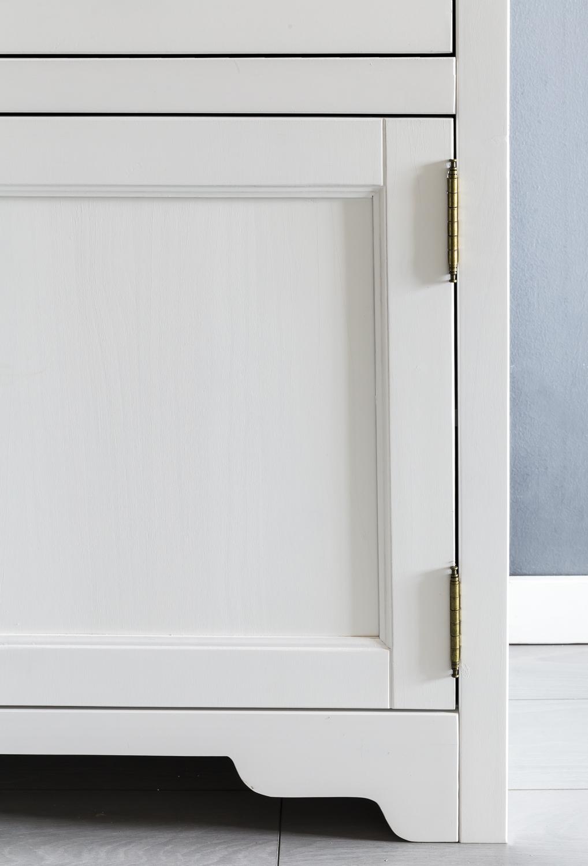 Wohnling Sideboard Mayla Kommode Anrichte Holz Massiv Glas Weiss