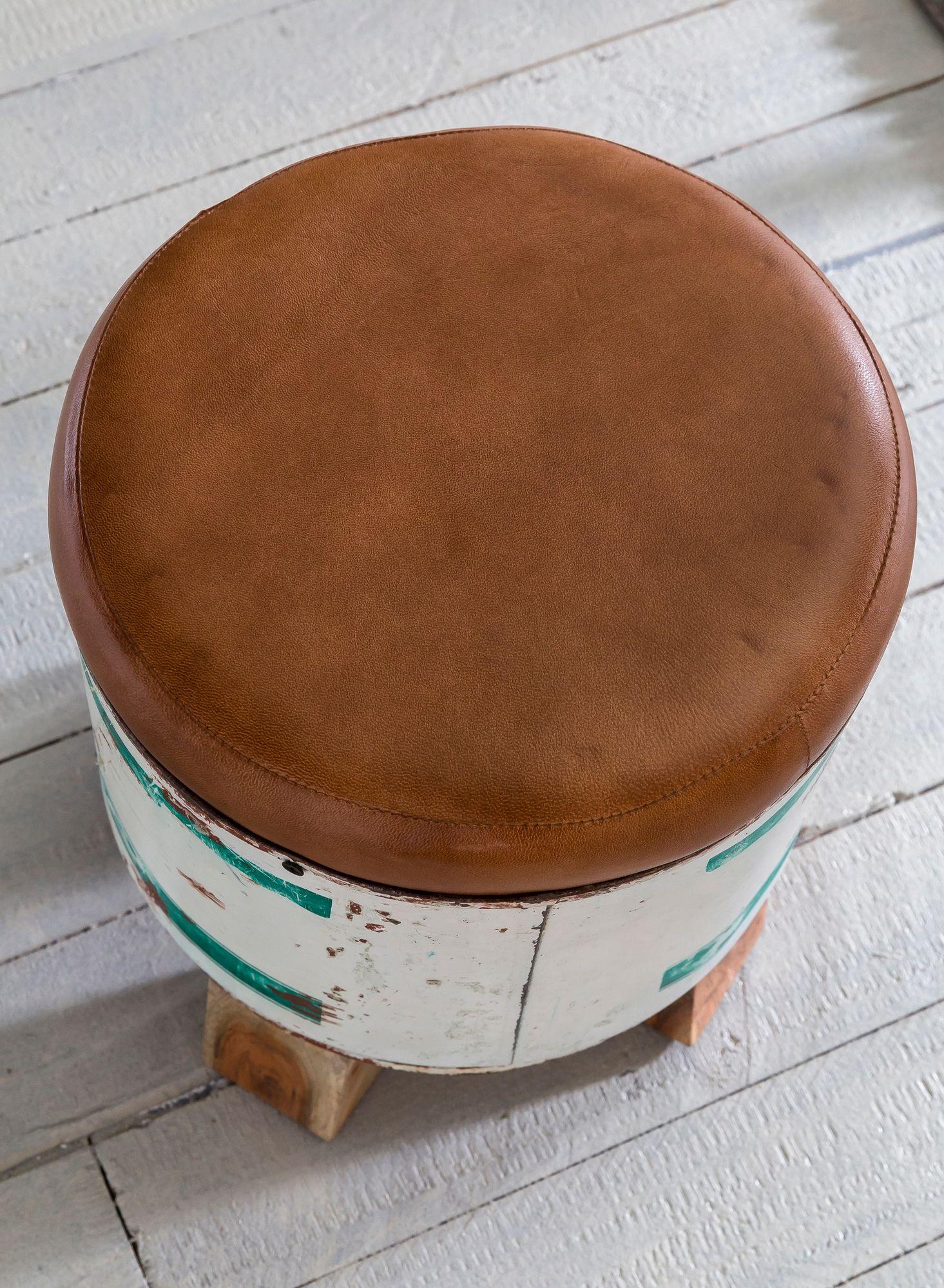 Wohnling Sitzhocker Indra 28x345x28cm Metall Leder Holz