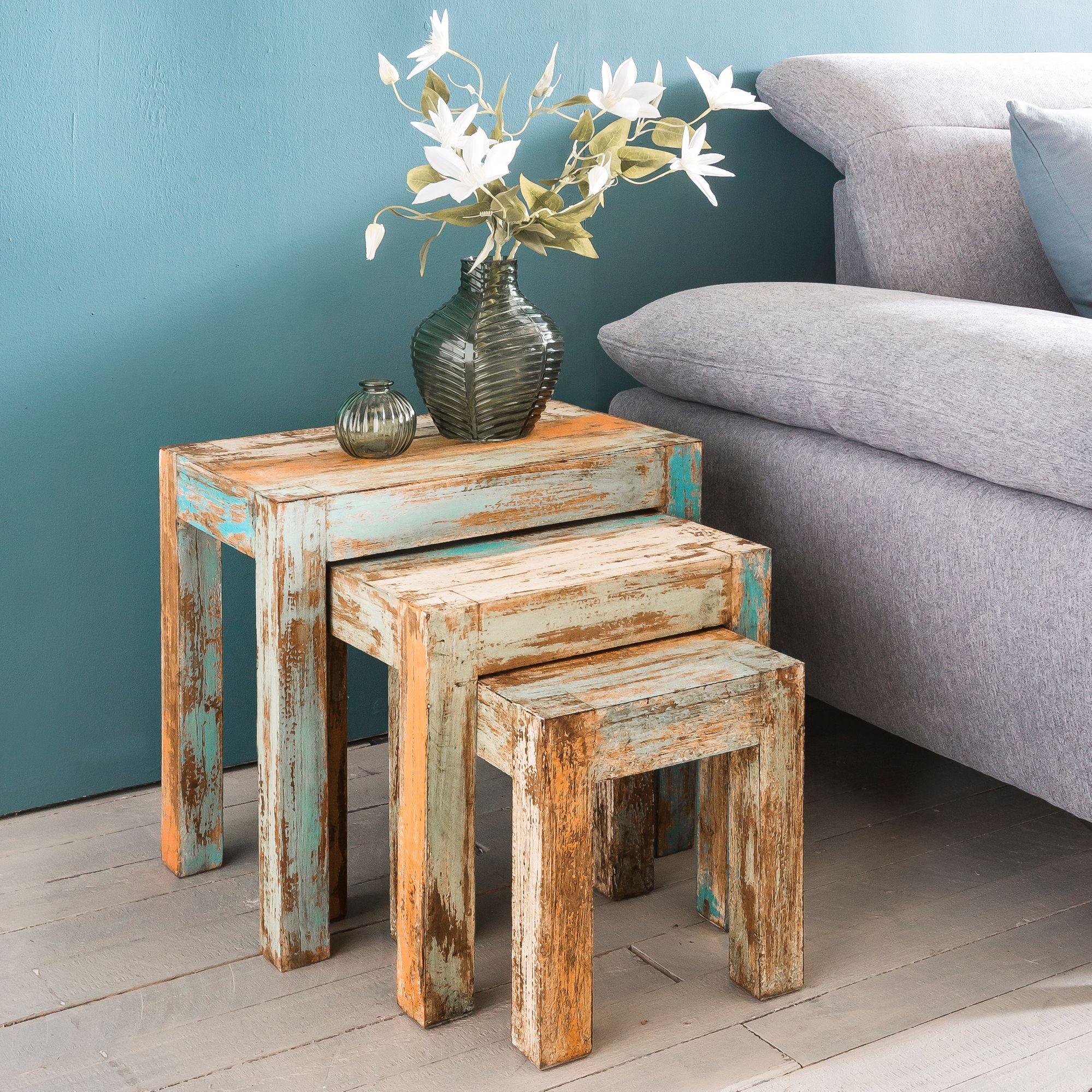 Wohnling Beistelltisch Set Yamas Holz Satztisch Massiv Wohnzimmertisch Shabby