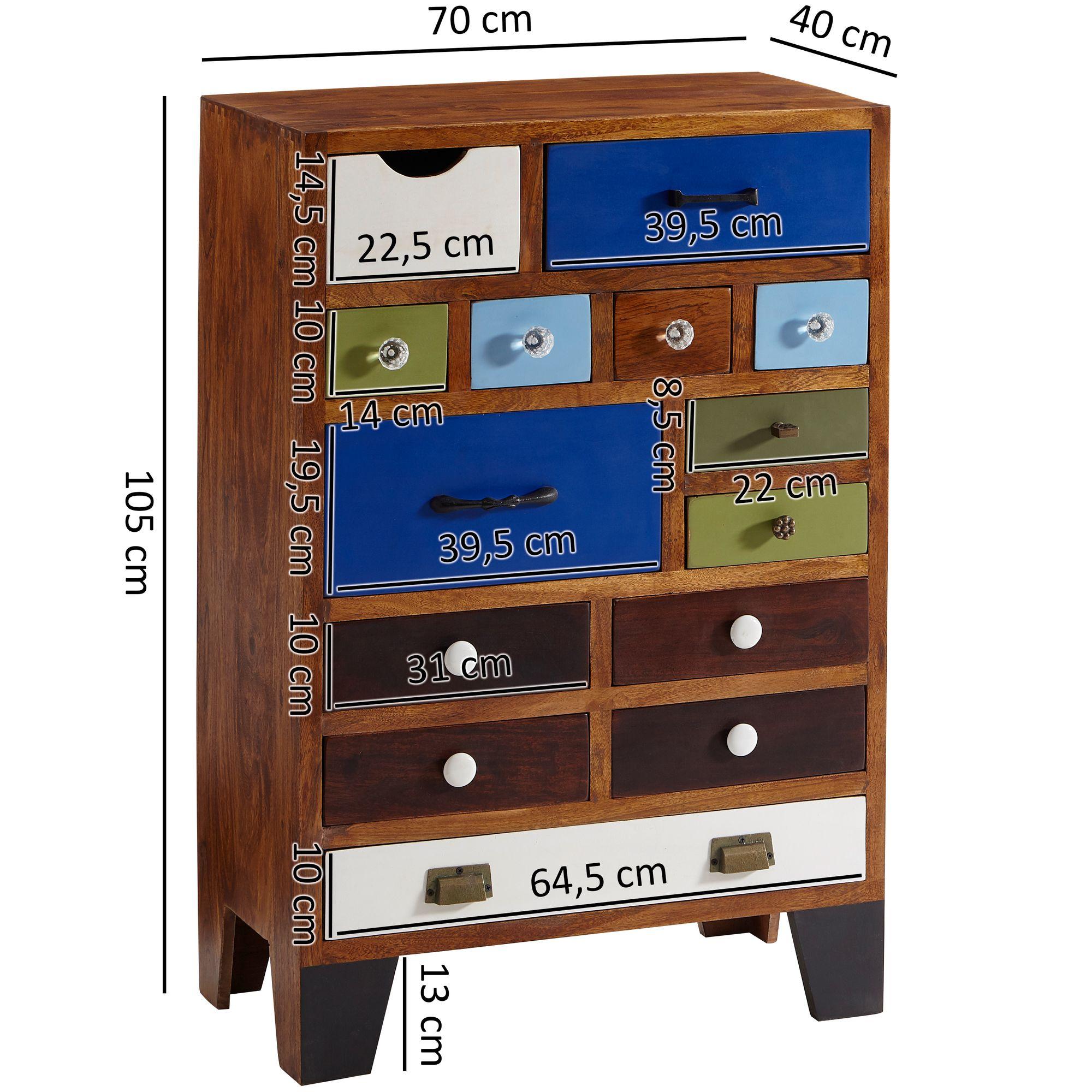 Sideboard 70x105x40cm Kommode Akazie Massiv Schubladenschrank