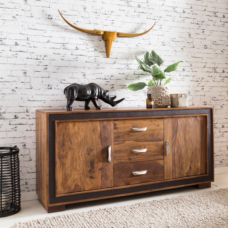 FineBuy Sideboard KARNA Sheesham Massiv Holz 160 X 80 X 44 Cm Mit  Kunstleder | Kommode