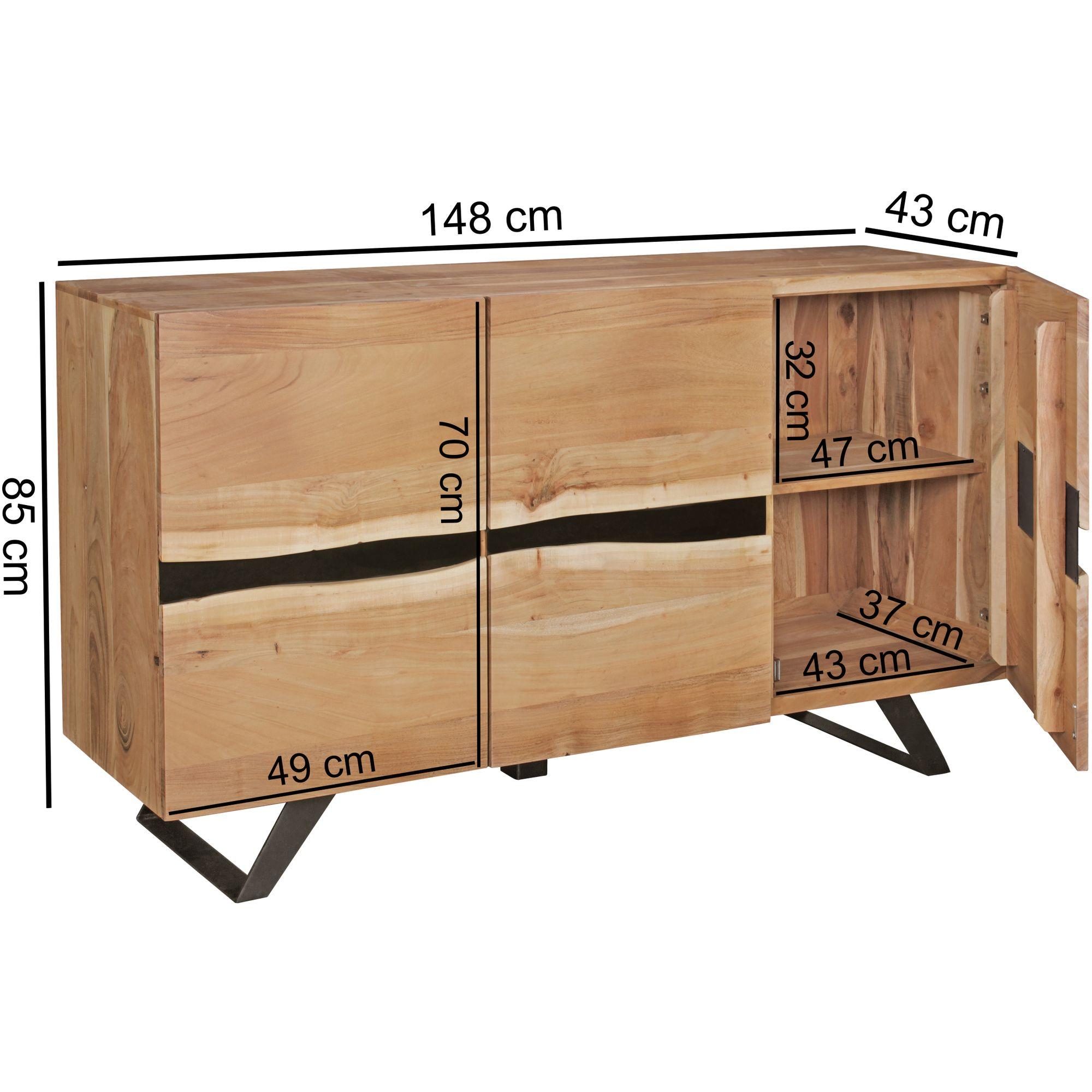 Sideboard Massivholz Akazie 150 Cm Anrichte Highboard Kommode