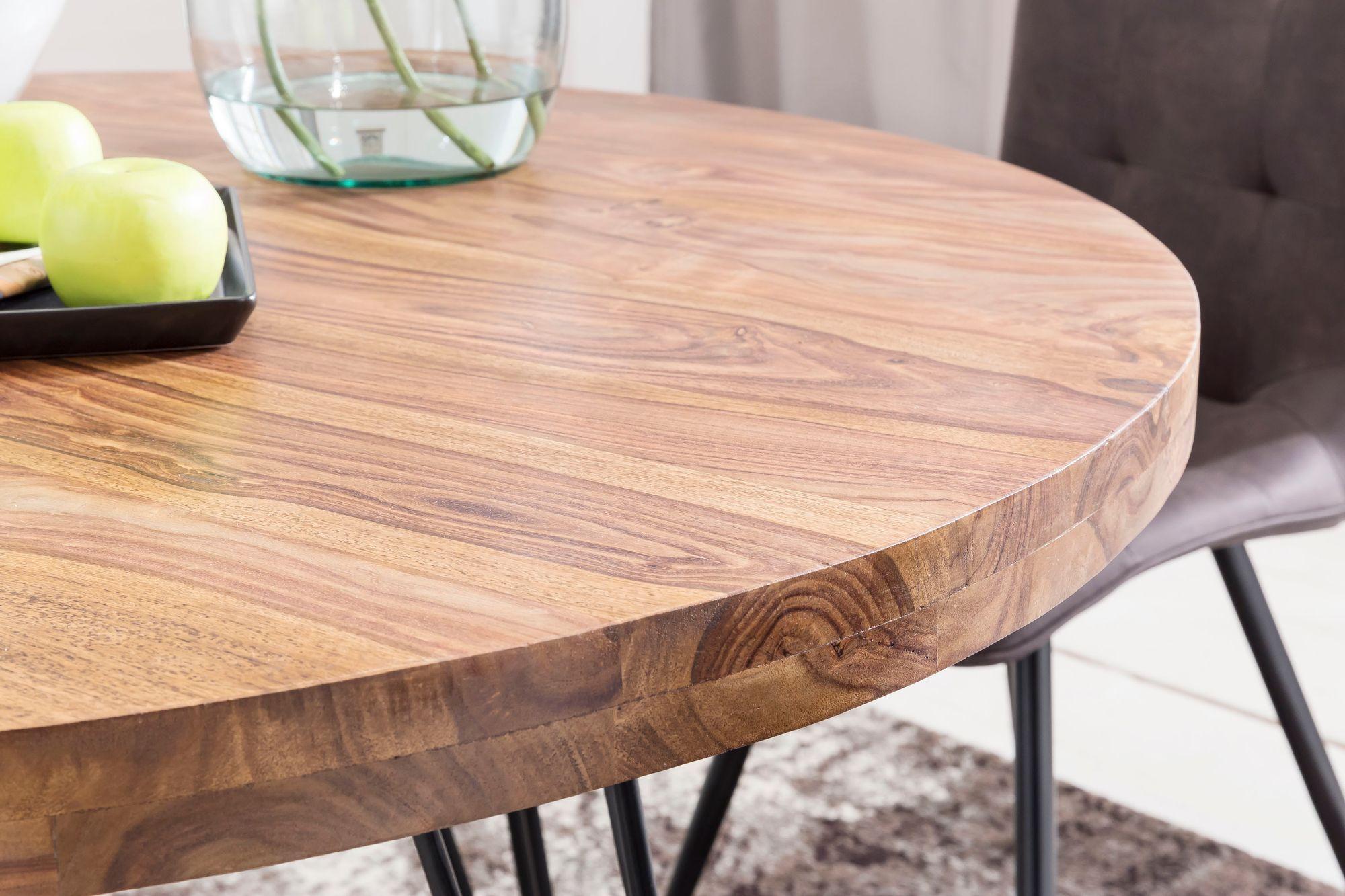 FineBuy Design Esszimmertisch BATI rund Ø 31 x 31 cm Sheesham Massiv-Holz   Landhaus Esstisch braun  Tisch für Esszimmer Küchentisch 31 Personen