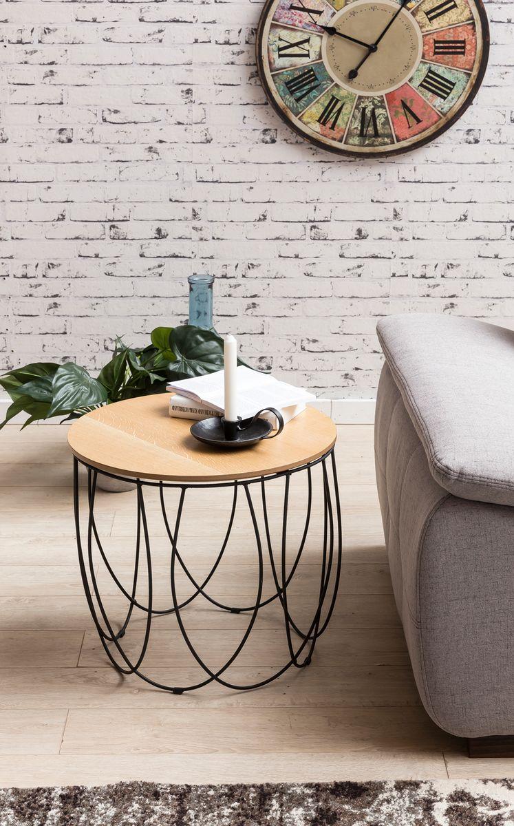 beistelltisch 50 cm anstelltisch holz metall wohnzimmertisch ablagetisch eiche ebay. Black Bedroom Furniture Sets. Home Design Ideas