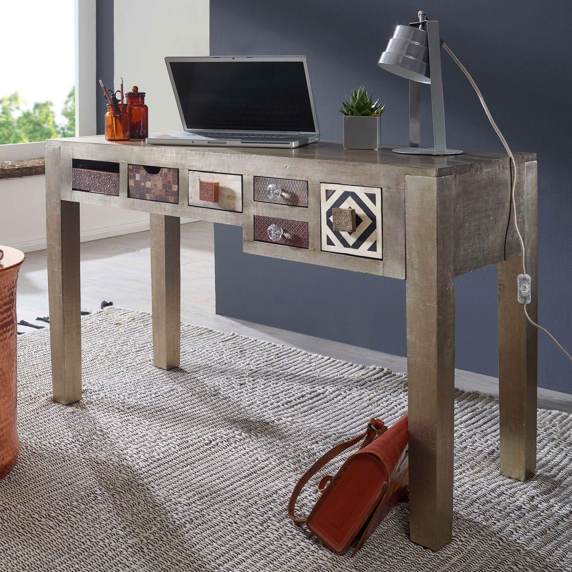 Wohnling Schreibtisch Loni 120 Cm Holz Metall Burotisch Laptoptisch Arbeitstisch