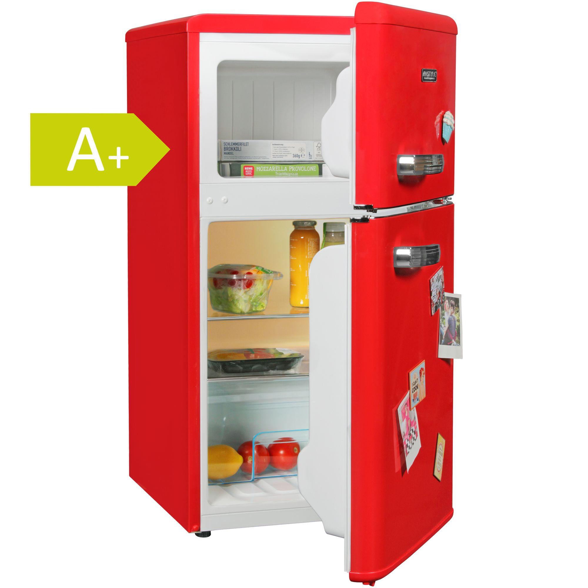 Fesselnd Retro Minikühlschrank 95L 2türig Mit Gefrierfach Kühlschrank Freistehend