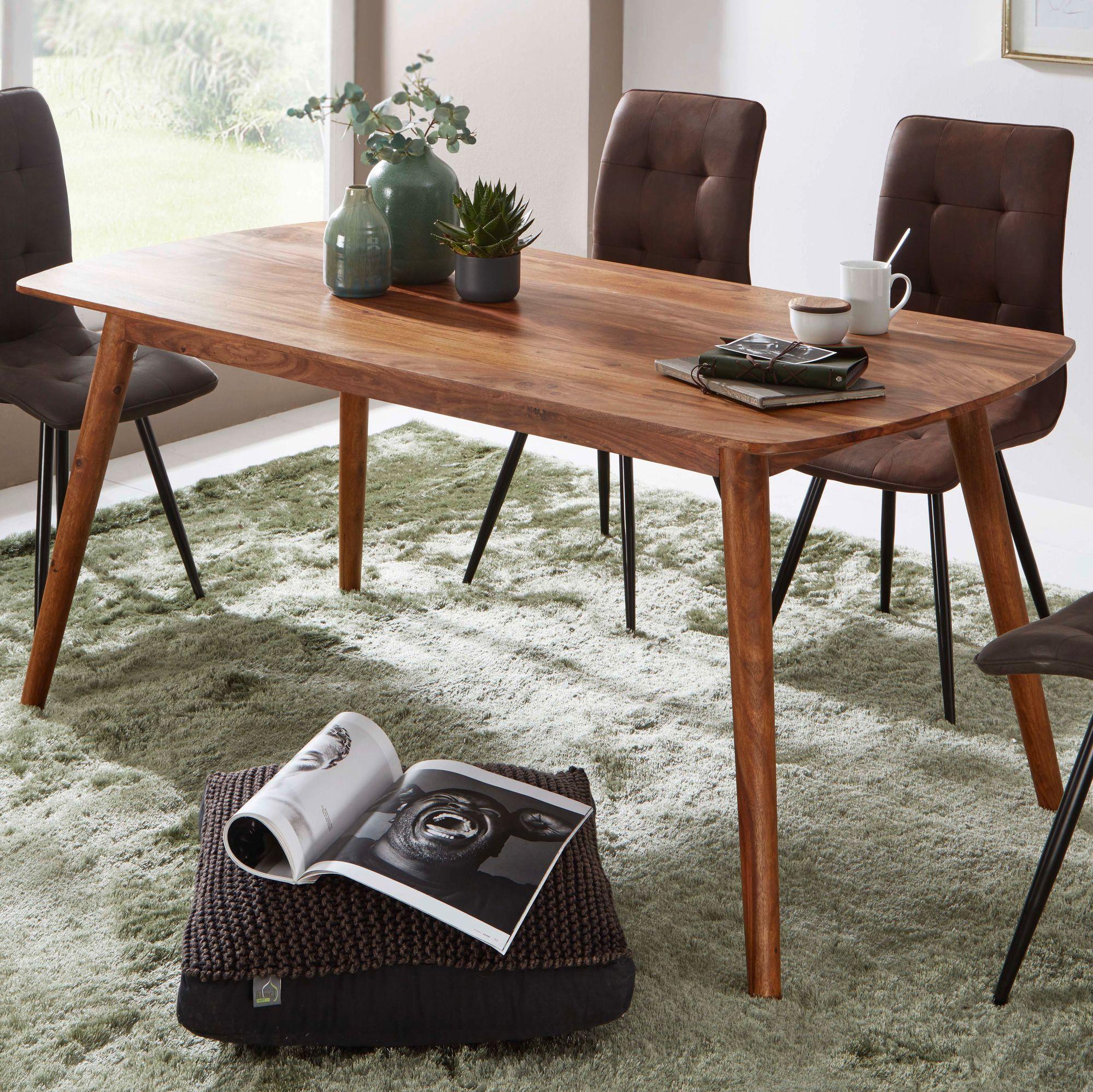 WOHNLING Esszimmertisch WL47.4472 Holz 47x47x47 cm Sheesham Massivholz Tisch   Designer Küchentisch Holz  Massiver Holztisch Rustikal  Speisetisch