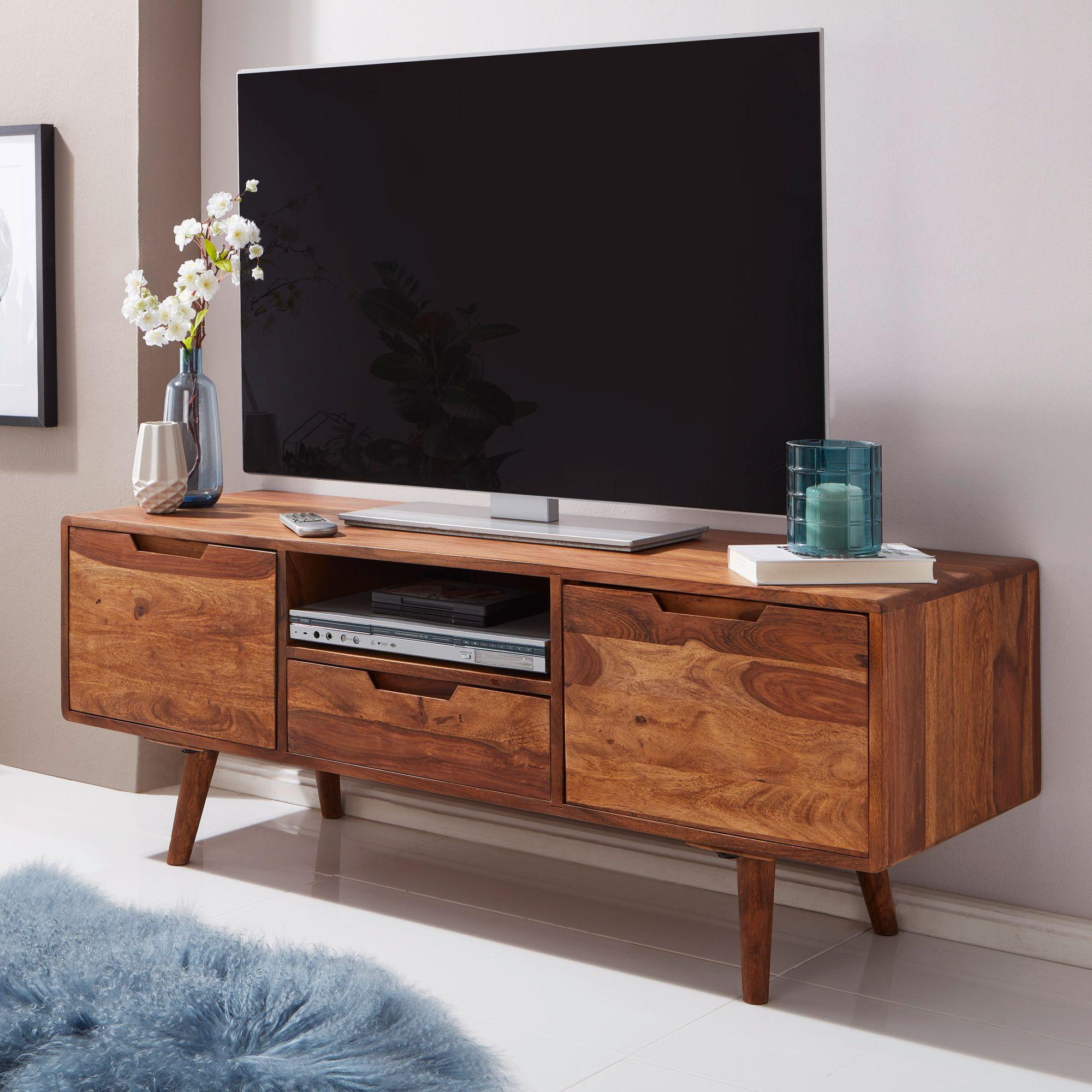 Wohnling Tv Lowboard Amana Holz Fernsehkommode Massiv Landhaus Fernsehschrank