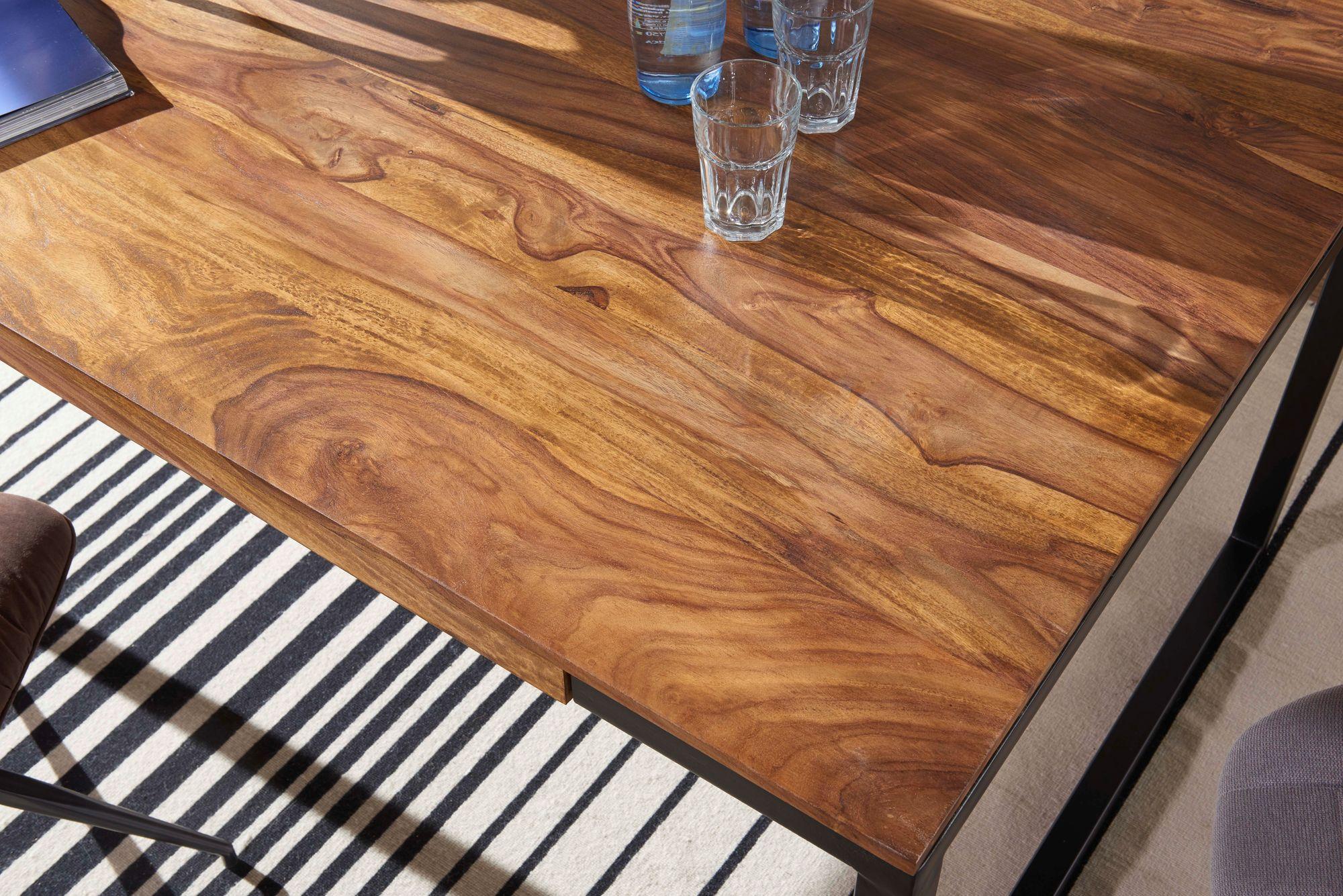 WOHNLING Esstisch 47x47x47 cm GOYAR Sheesham Holztisch mit Metallbeinen   Massiver Esszimmertisch Braun / Schwarz  Großer Tisch Echtholz / Metall
