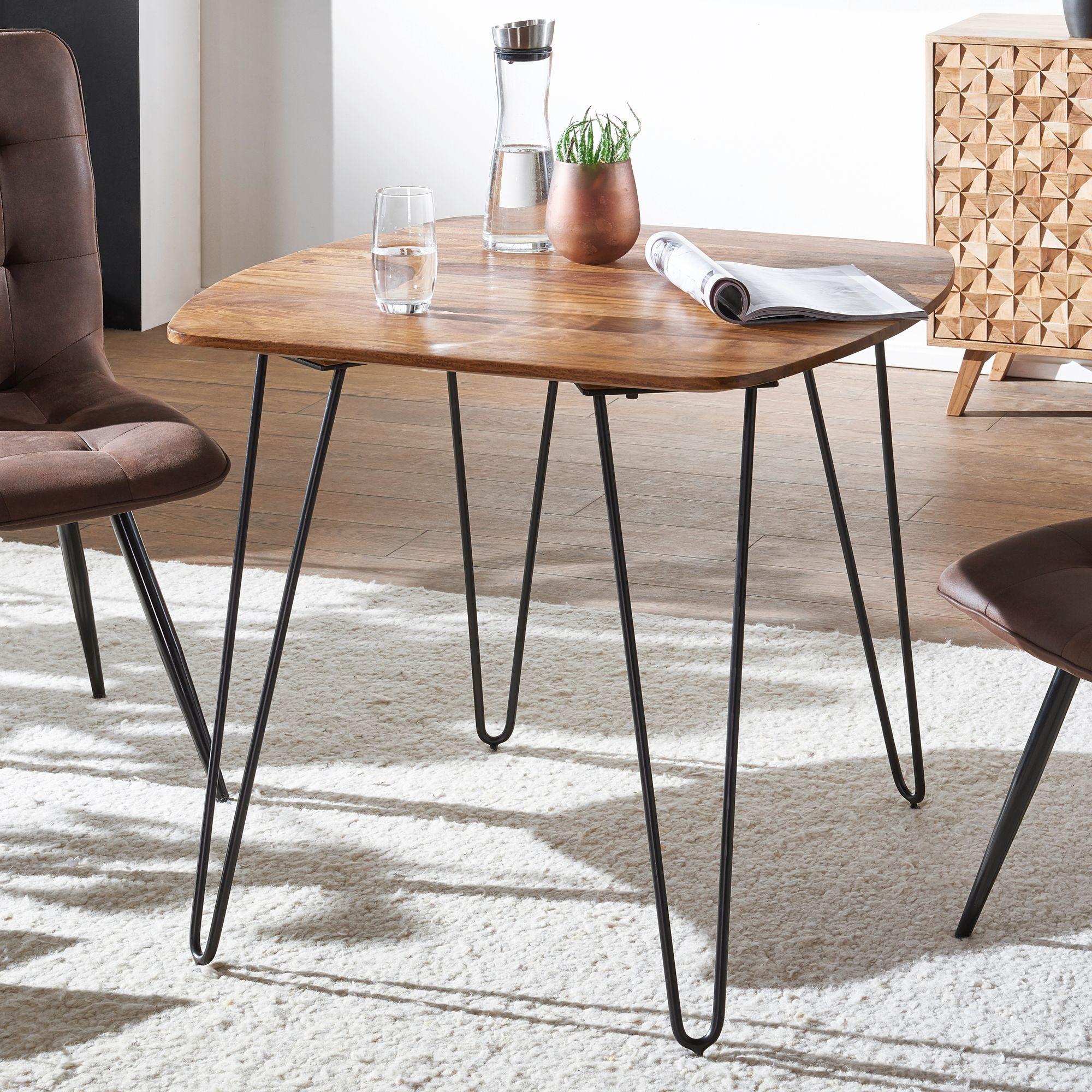 WOHNLING Esszimmertisch KELA 80x80x76 cm Sheesham Massivholz | Esstisch mit Metallbeinen | Massiver Echtholz Tisch Quadratisch | Designer Holztisch