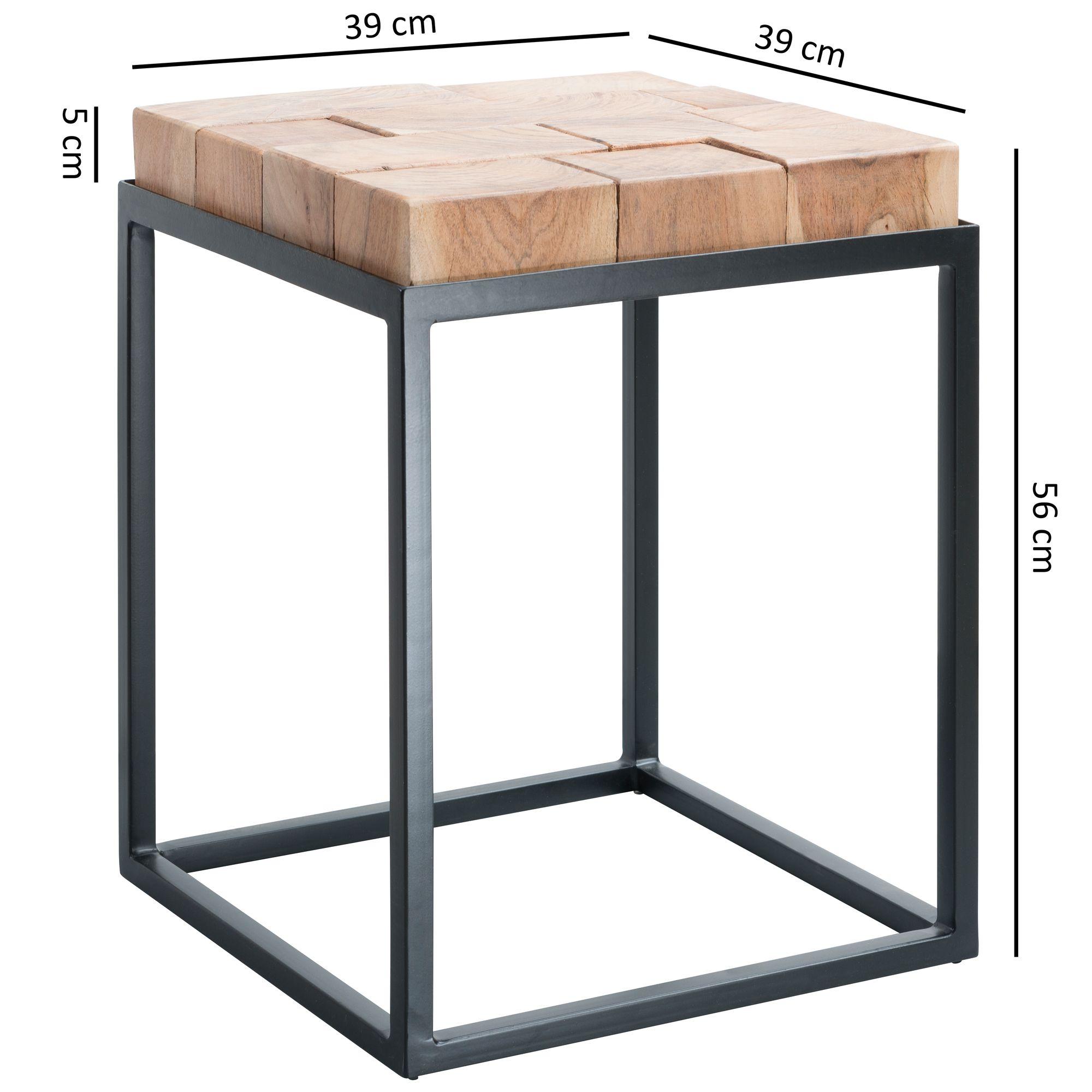 Wohnling Beistelltisch Andur 39x56x39cm Metall Couchtisch Holz