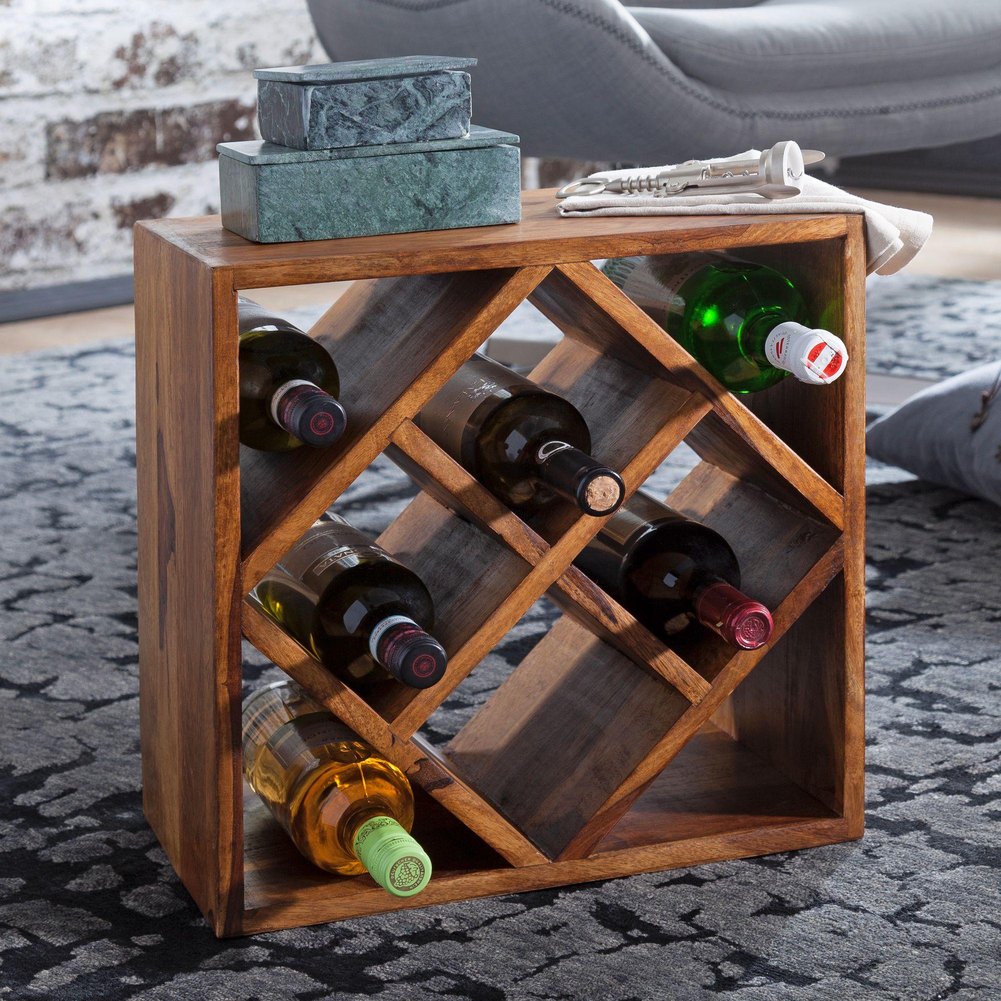 WOHNLING Weinregal WL15.15 Sheesham Massivholz 15x15x215cm Holzregal 15  Flaschen  Kleines Flaschenregal Standregal schmal  Design Getränkehalter  Holz