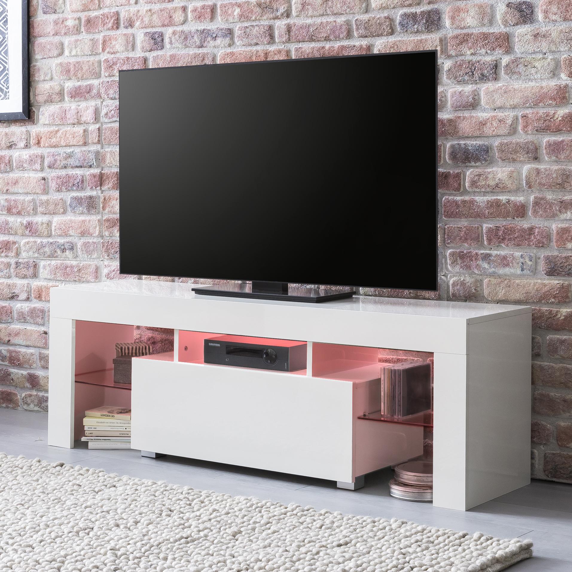 Tv Lowboard Schrank Tisch Board 130cm Mit Led Beleuchtung Sonoma