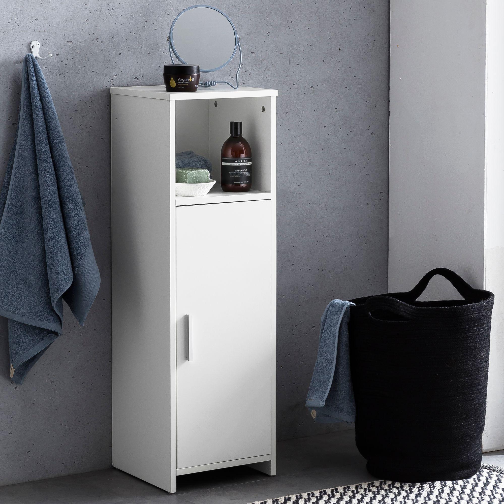 FineBuy Badschrank 20 x 20,20 x 20 cm Weiß Holz mit Tür und Ablagefach    Kleiner Bad Schrank Beistellschrank Stehend   Badregal Schmal Freistehend  ...