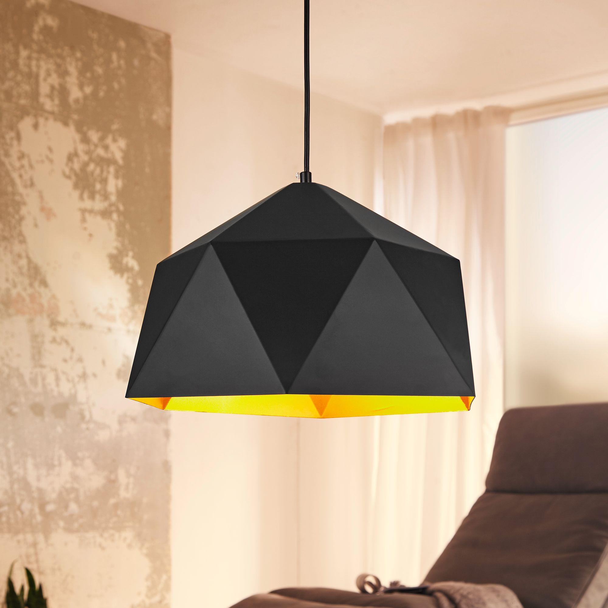 finebuy design h ngelampe hexa 38cm schwarz gold deckenlampe mit metall schirm moderne. Black Bedroom Furniture Sets. Home Design Ideas