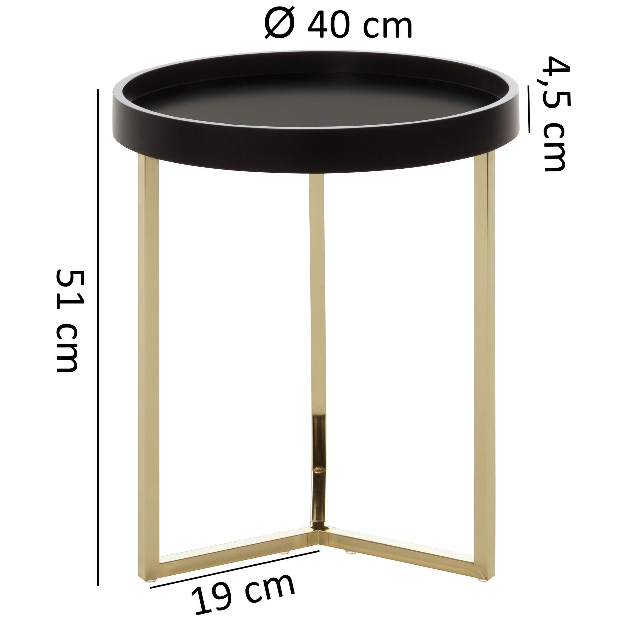 Wohnling Design Beistelltisch Eva 40x51x40cm Couchtisch Rund Schwarz Gold Designer Wohnzimmertisch Modern Kleiner Sofatisch