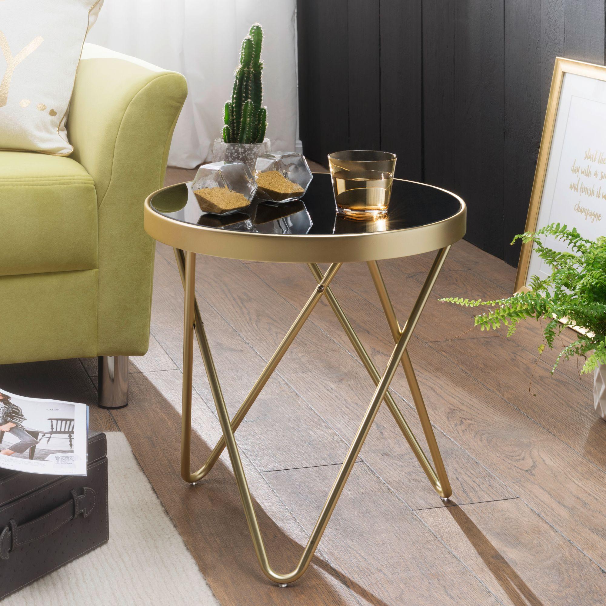 WOHNLING Design Beistelltisch DANA 20x20x20cm Couchtisch Rund Schwarz/Matt  Gold  Designer Glas-Wohnzimmertisch modern  Glastisch mit Metallgestell