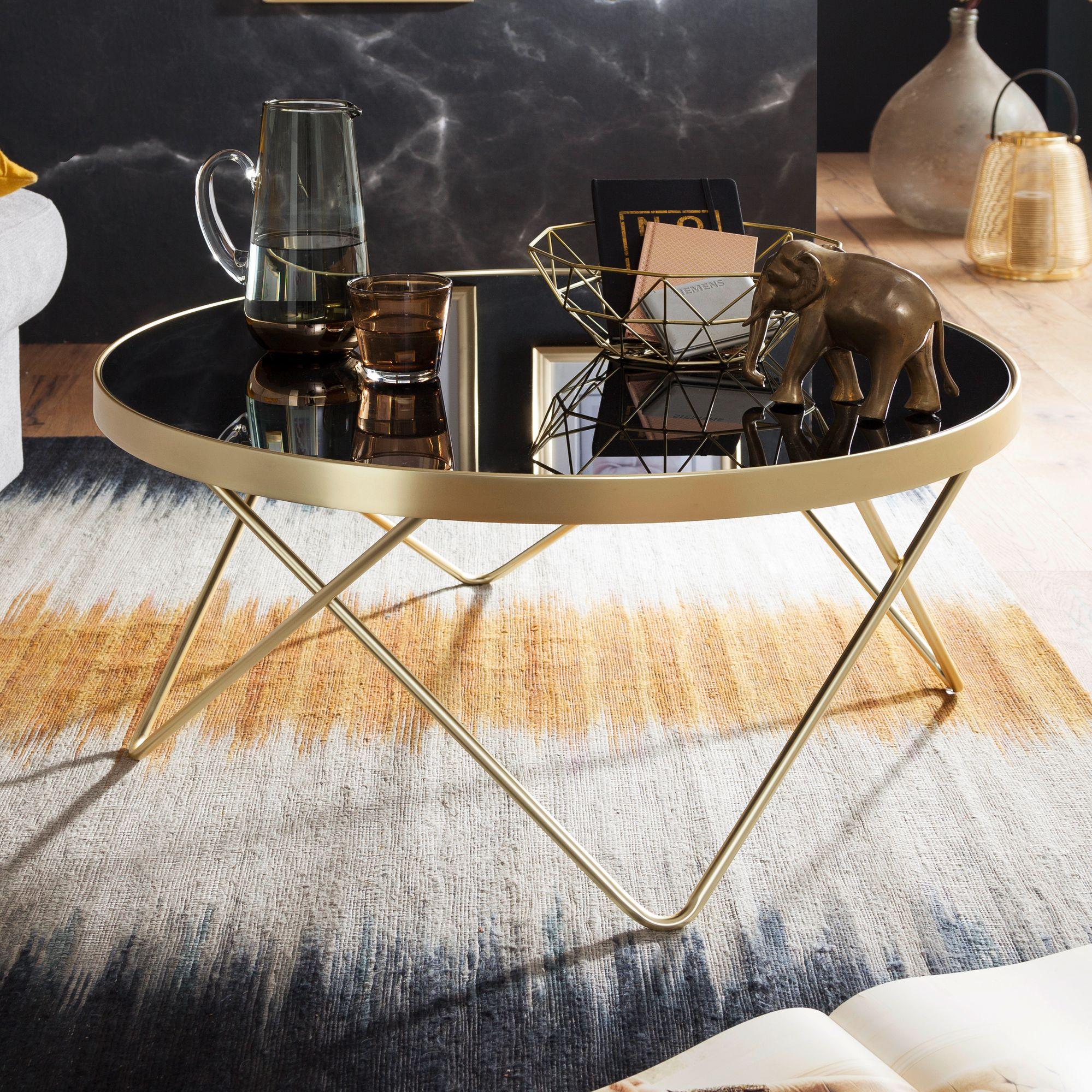 Wohnling Couchtisch Schwarz Matt Gold Tisch Mit Glasplatte