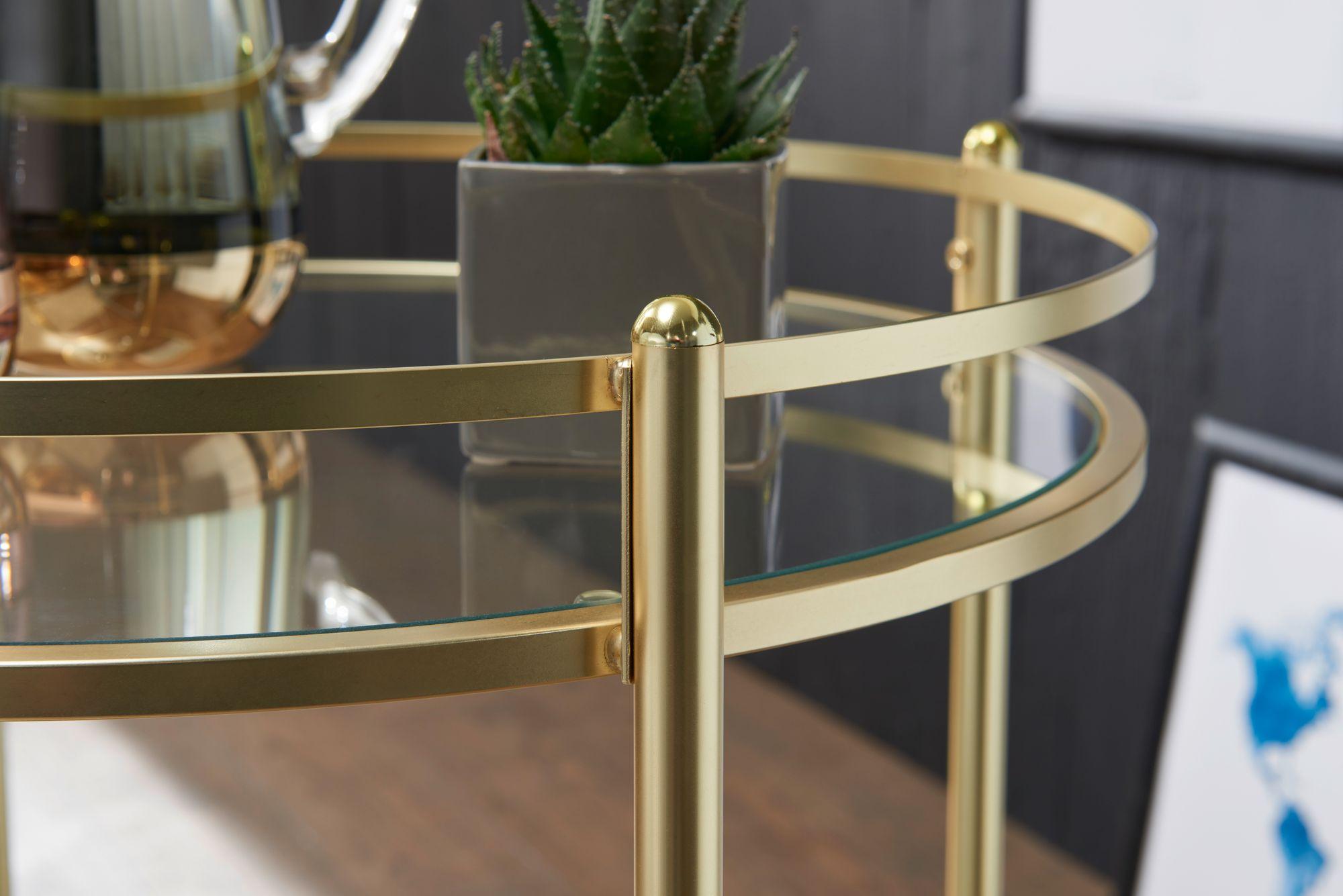 Wohnling Servierwagen Gold ø 57 Cm Beistelltisch Teewagen Mit Rollen