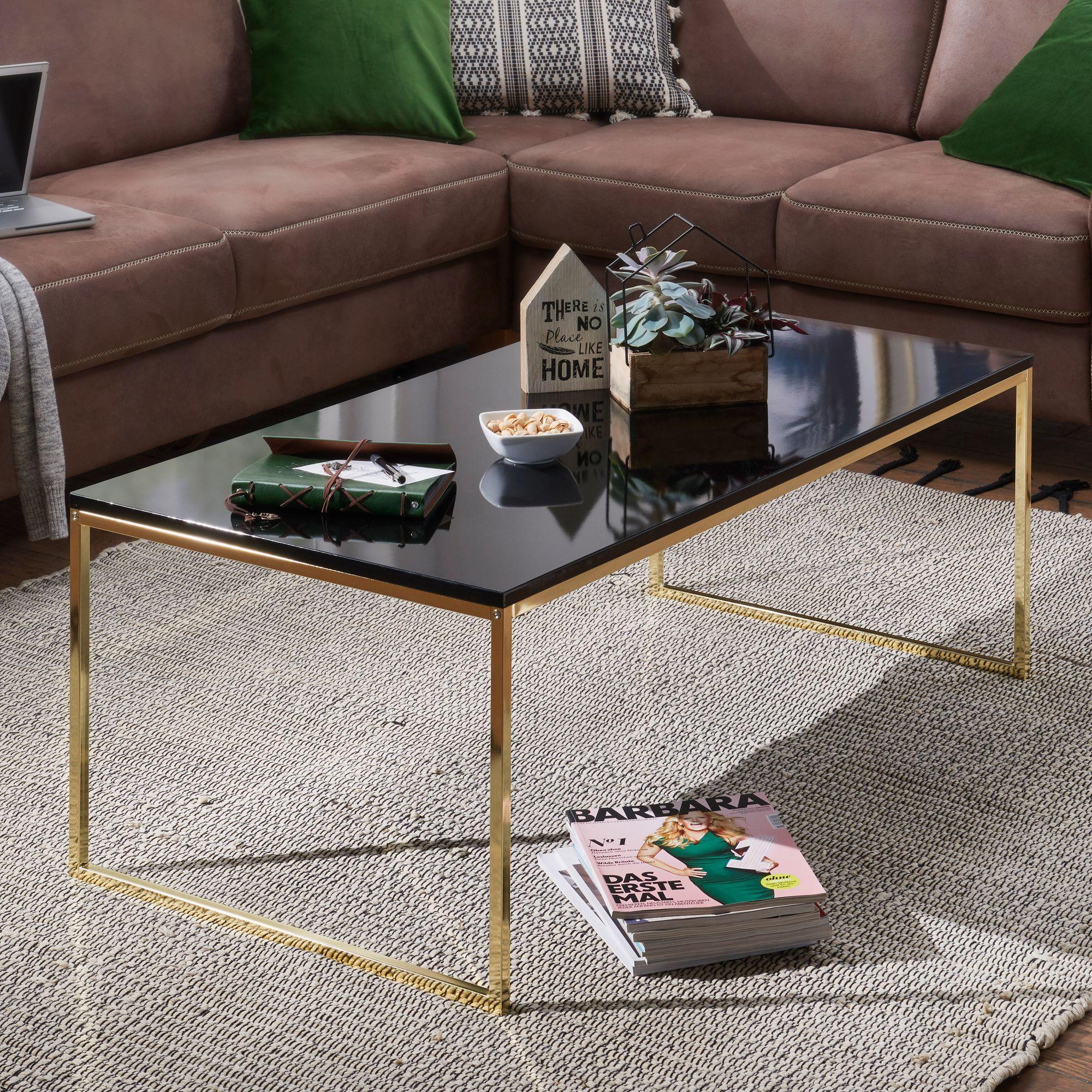 WOHNLING Couchtisch RIVA 120 cm Metall Holz Wohnzimmertisch Beistelltisch  Gold