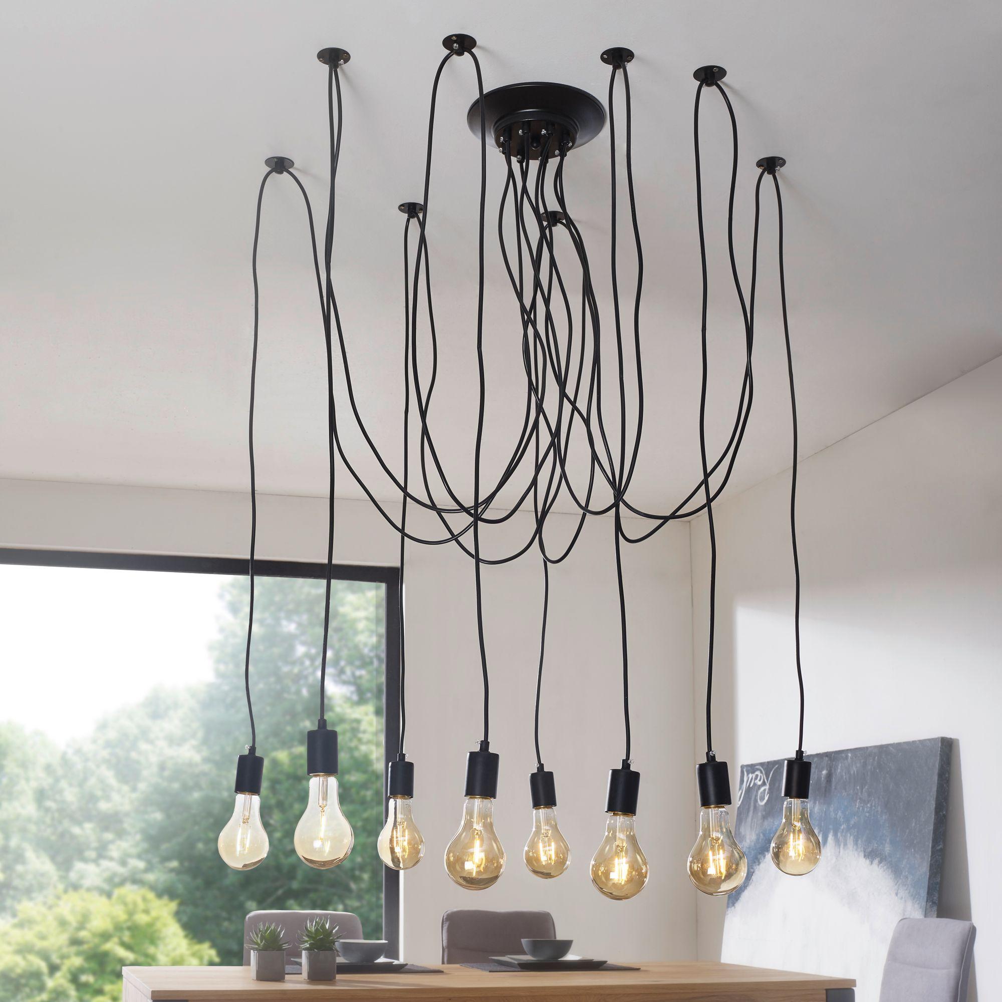 FineBuy Industrial Deckenleuchte LEDYA 8 Flammig Pendelleuchte Schwarz |  Industrie Lampe Esstisch | Hängelampe