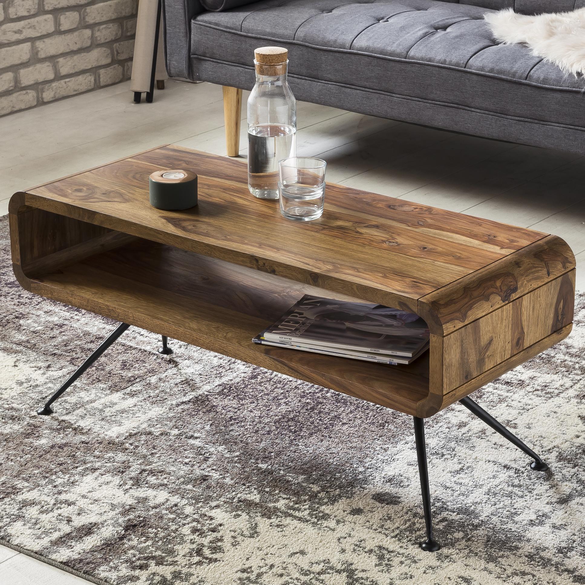 FineBuy Couchtisch KIRA 100 x 40 x 45 cm Sheesham Massiv Holz Ablage ...