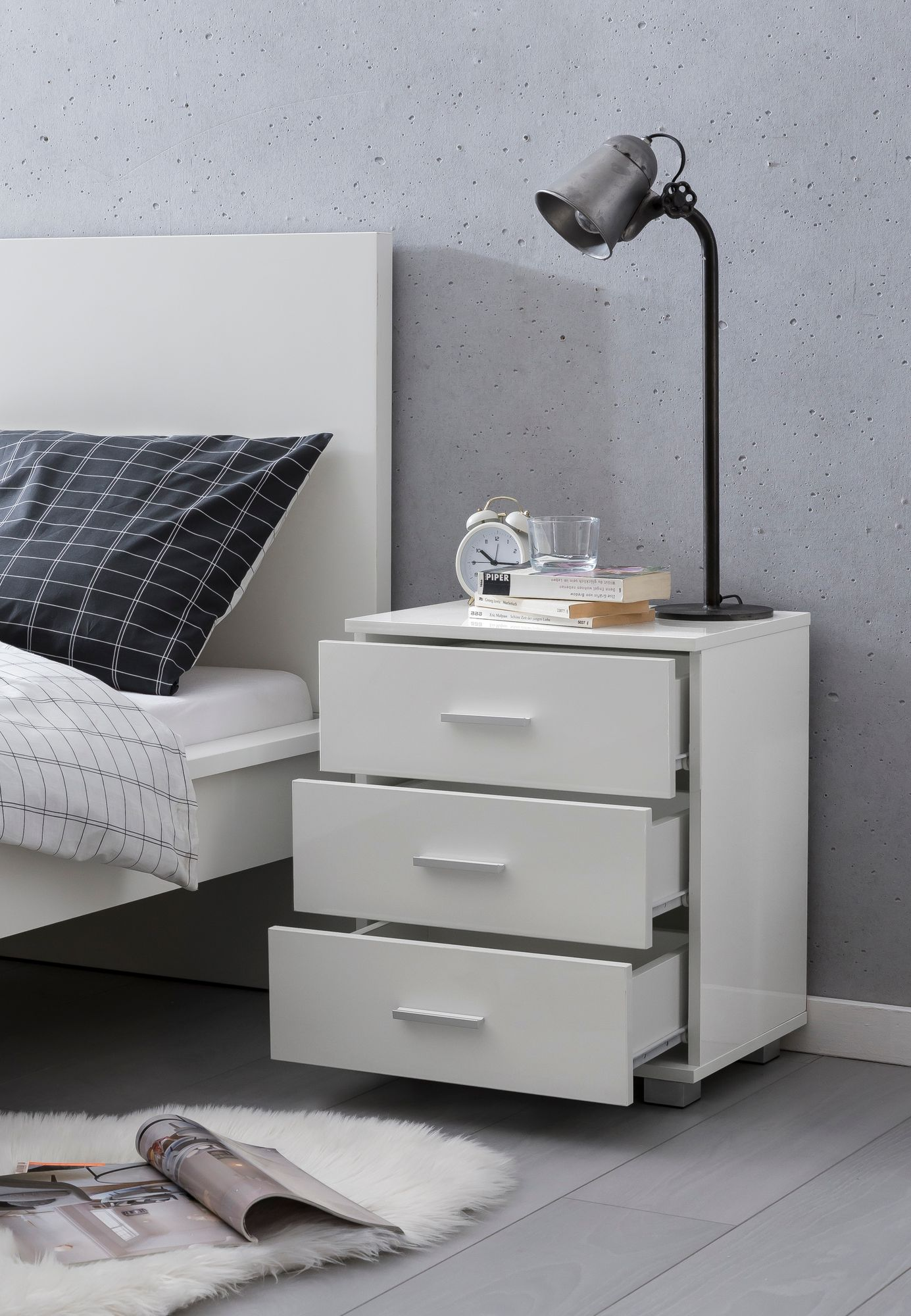 WOHNLING Design Nachtkonsole WL5 865 Weiß 45x54x34cm Holz Nachttisch Hochglanz Modernes Nachtkästchen mit Aufbewahrung