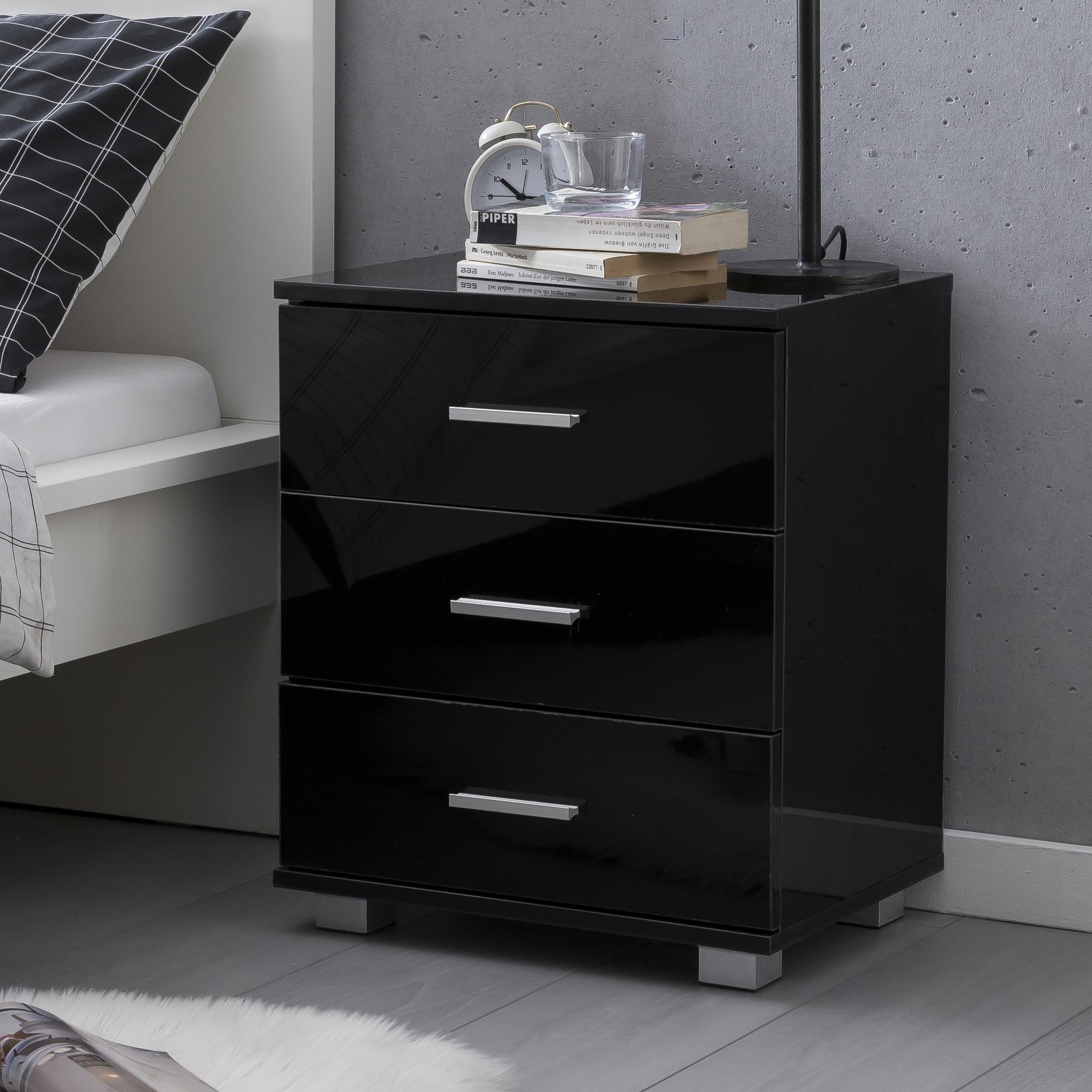 wohnling design nachtkonsole wl5.867 schwarz 45x54x34cm holz nachttisch  hochglanz | modernes nachtkästchen mit aufbewahrung | kleine