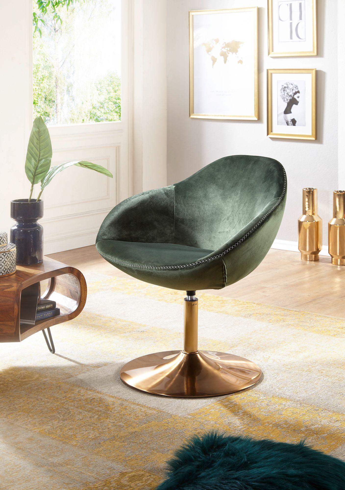 Wohnling Loungesessel Sarin Samt Grun Gold 70x79x70 Cm Design Drehstuhl Clubsessel Polsterstuhl Mit Armlehne