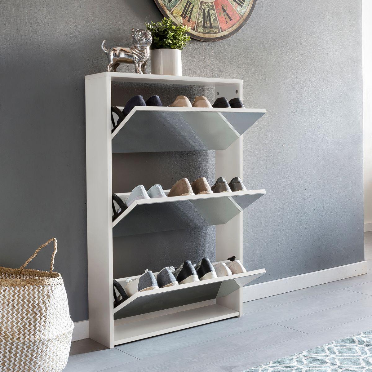 schuhkipper niki 3 klappen spiegel schuhschrank schuhregal schuhkommode holz ebay. Black Bedroom Furniture Sets. Home Design Ideas